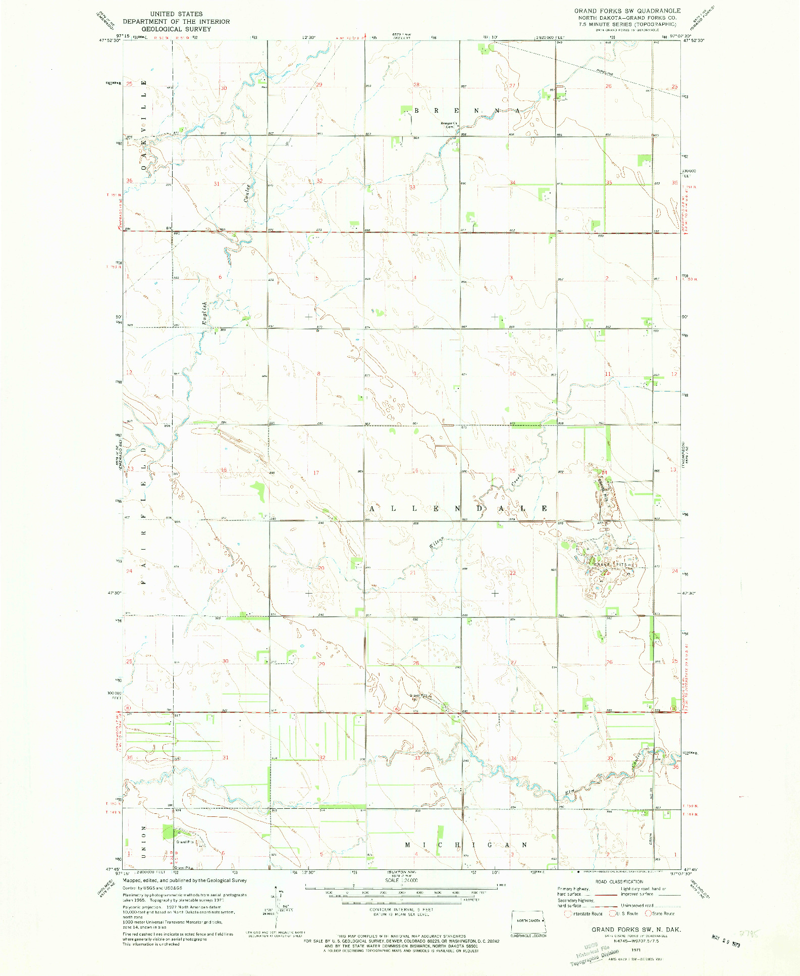 USGS 1:24000-SCALE QUADRANGLE FOR GRAND FORKS SW, ND 1971