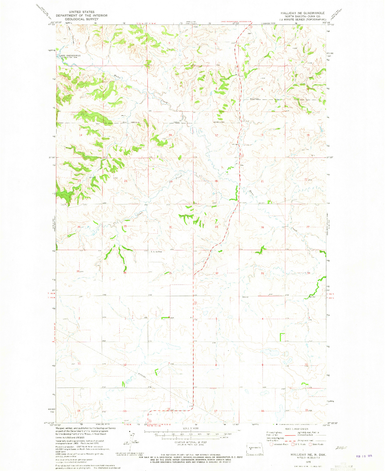 USGS 1:24000-SCALE QUADRANGLE FOR HALLIDAY NE, ND 1970