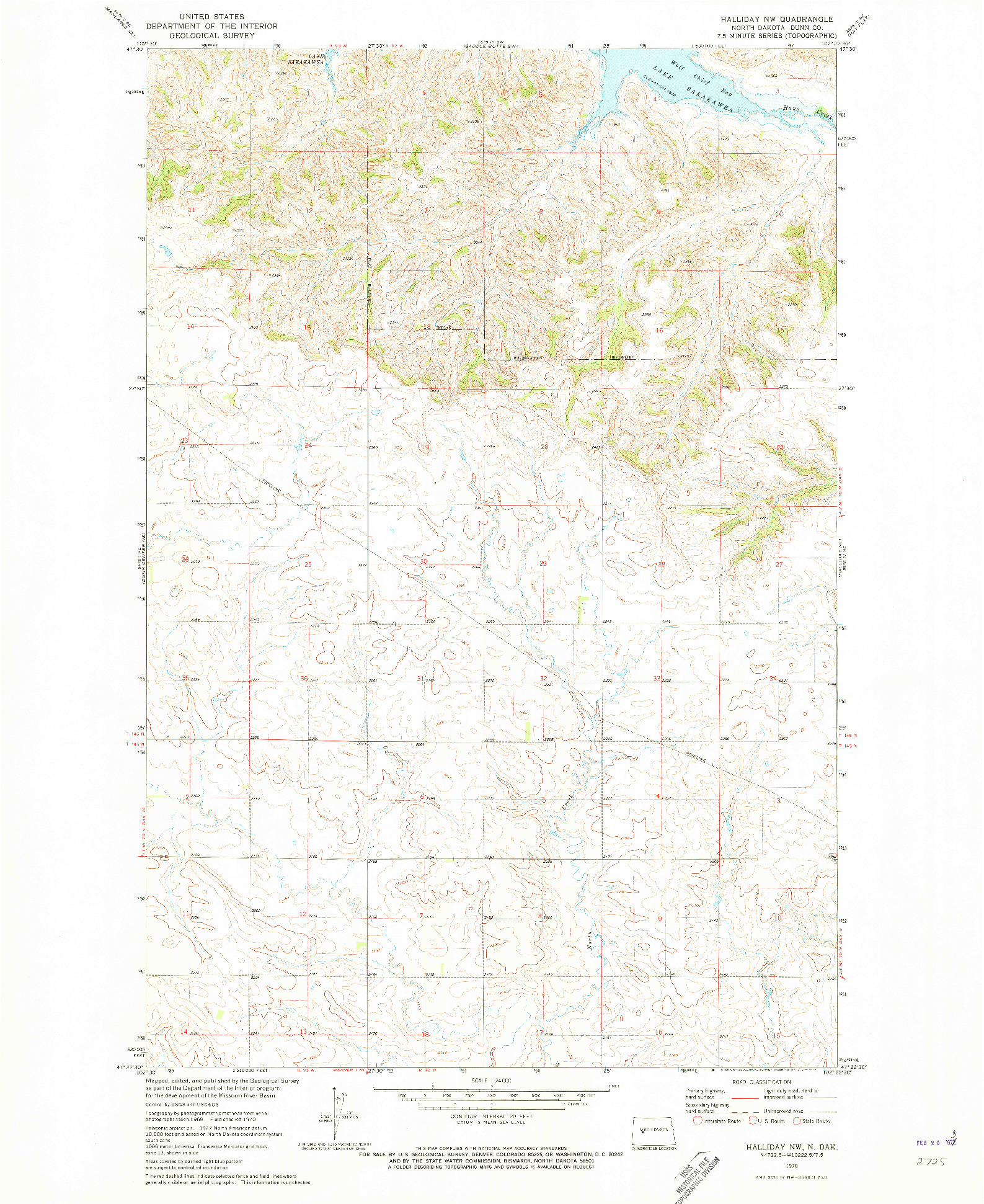 USGS 1:24000-SCALE QUADRANGLE FOR HALLIDAY NW, ND 1970
