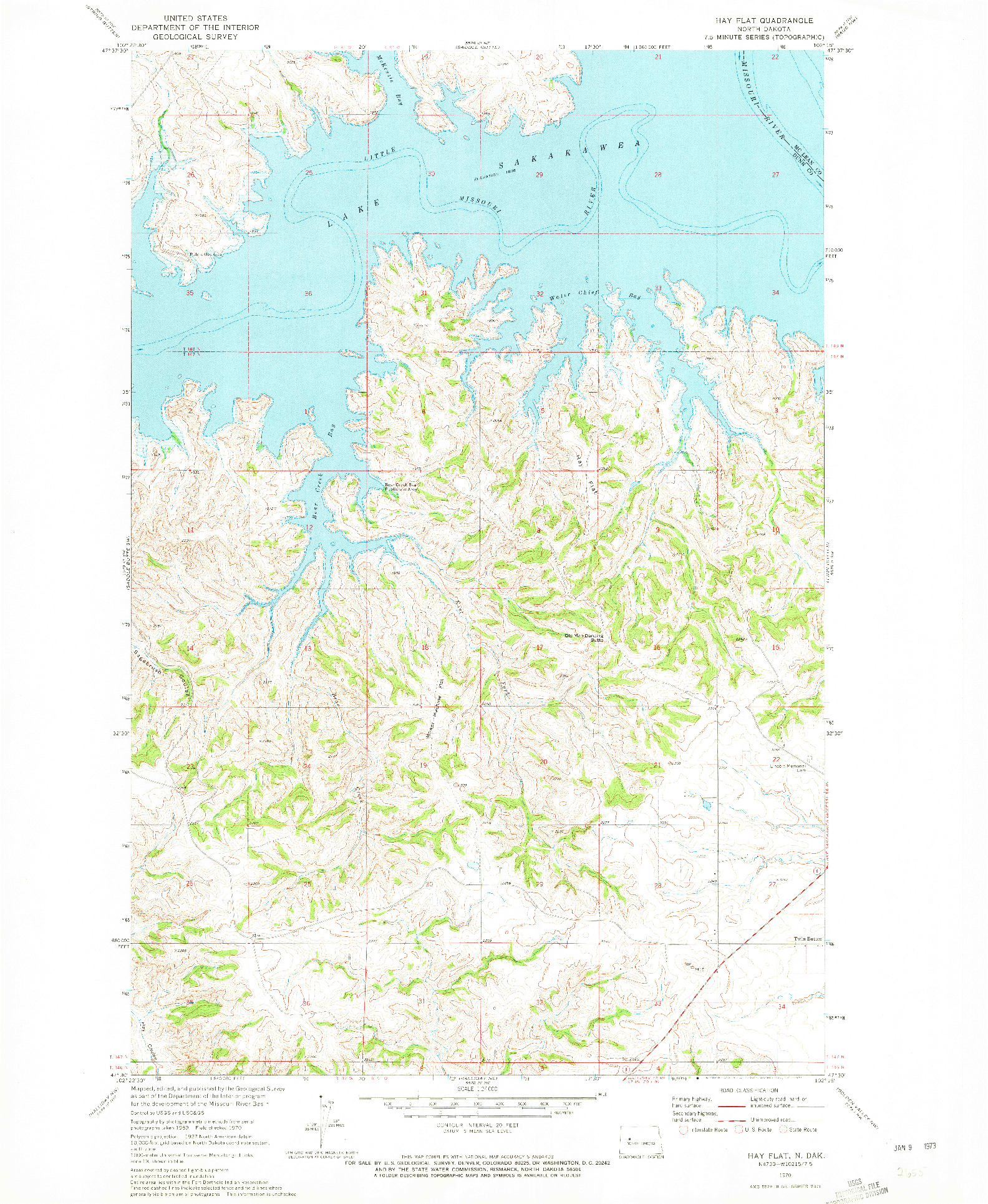 USGS 1:24000-SCALE QUADRANGLE FOR HAY FLAT, ND 1970