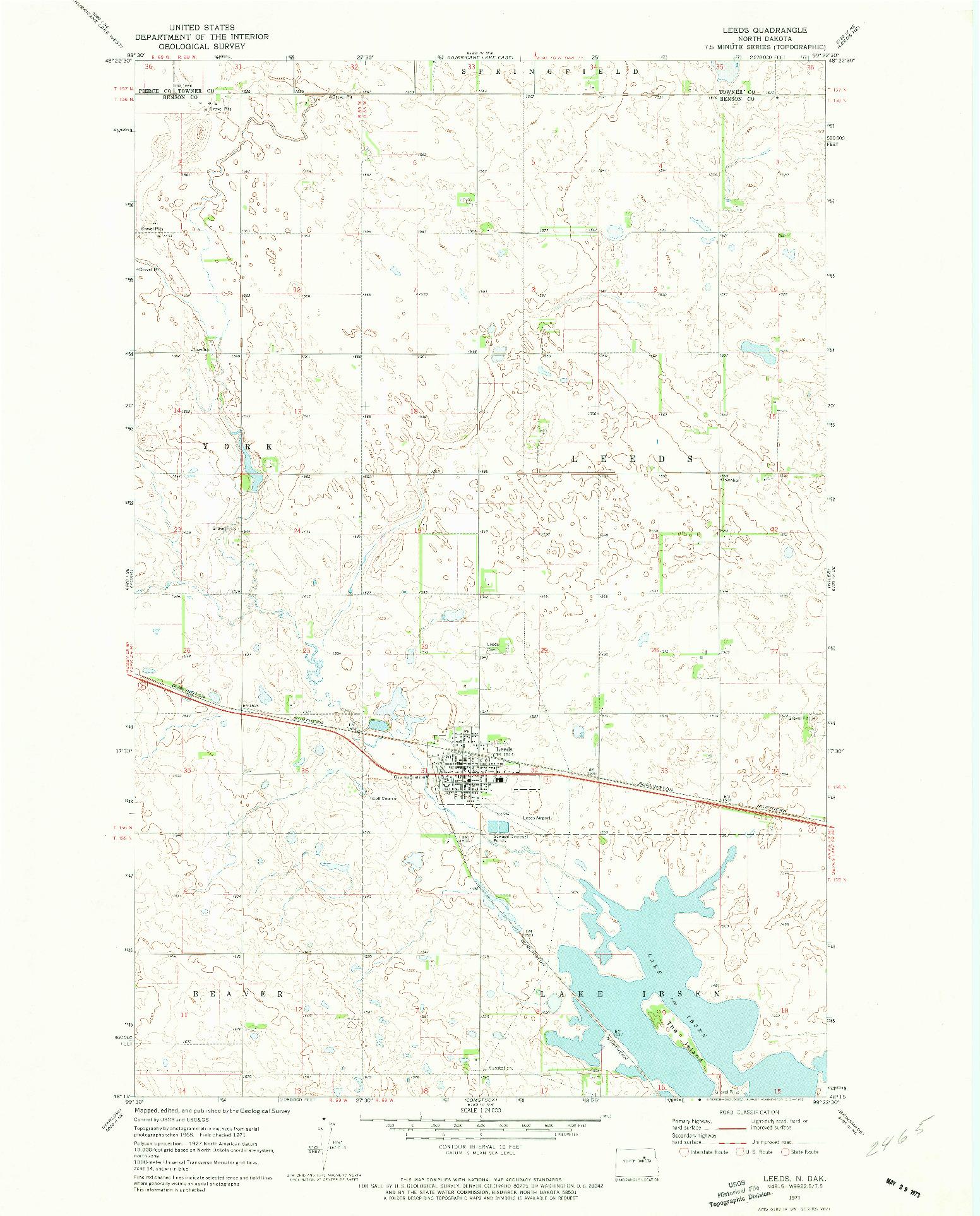 USGS 1:24000-SCALE QUADRANGLE FOR LEEDS, ND 1971