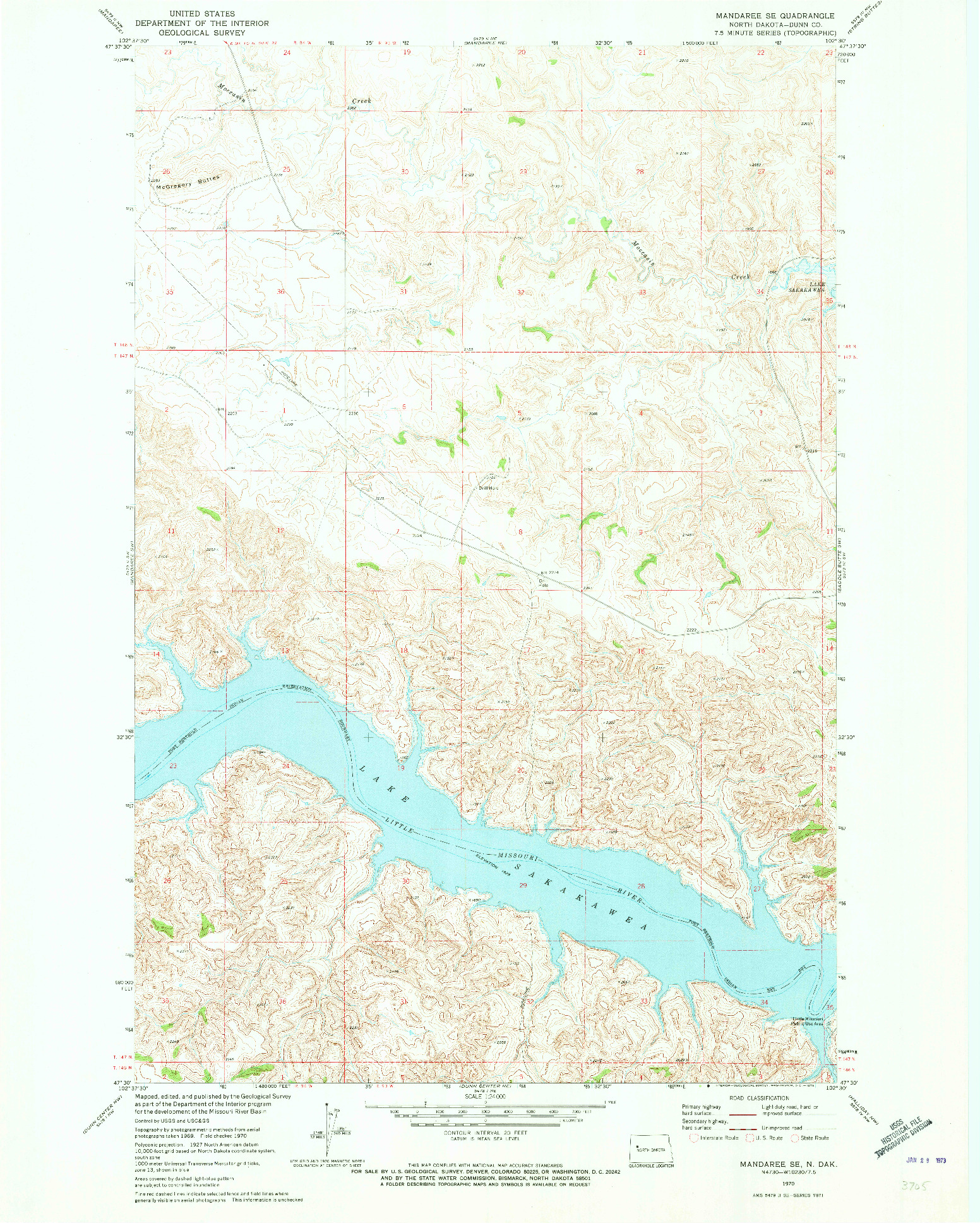 USGS 1:24000-SCALE QUADRANGLE FOR MANDAREE SE, ND 1970