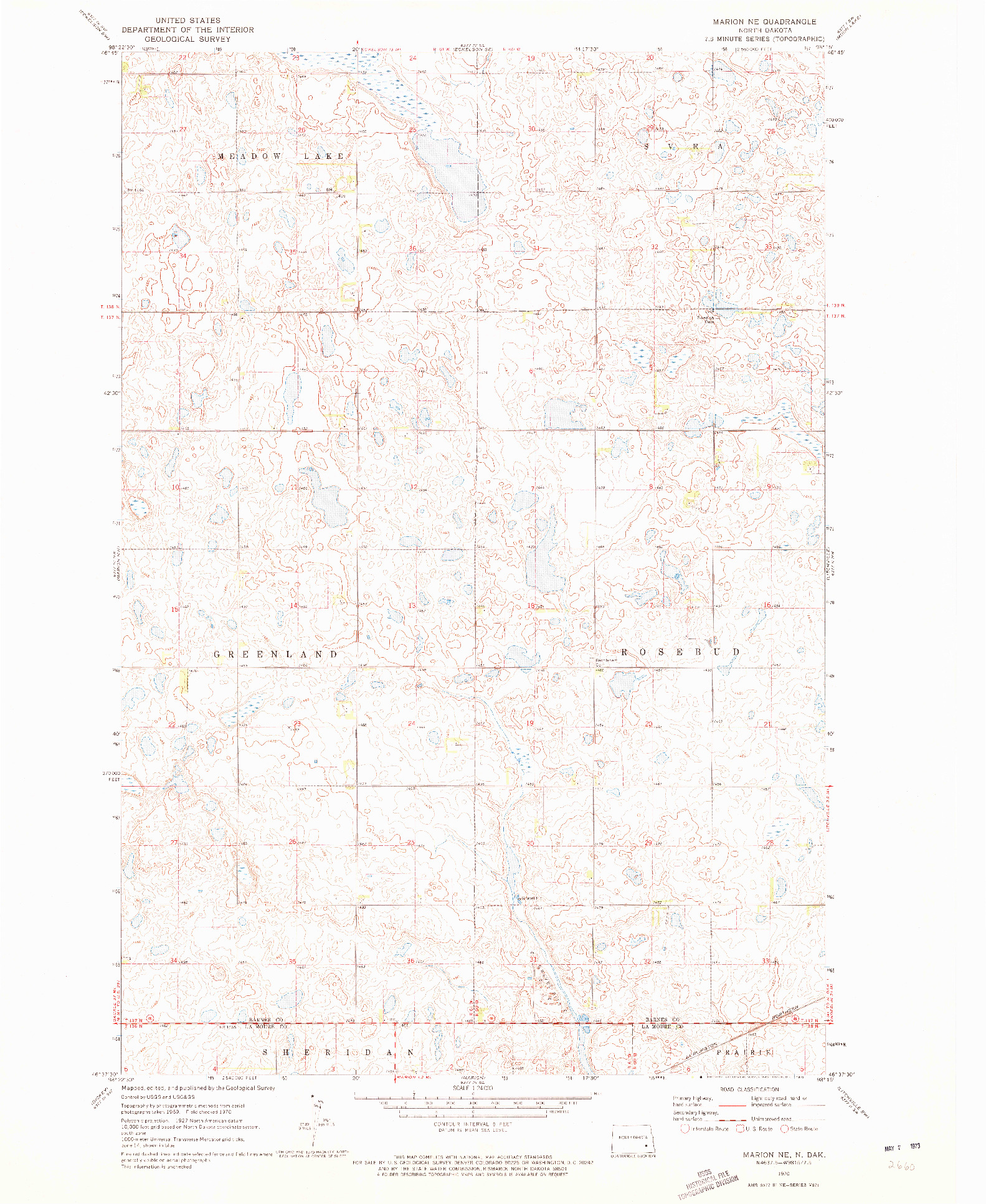 USGS 1:24000-SCALE QUADRANGLE FOR MARION NE, ND 1970