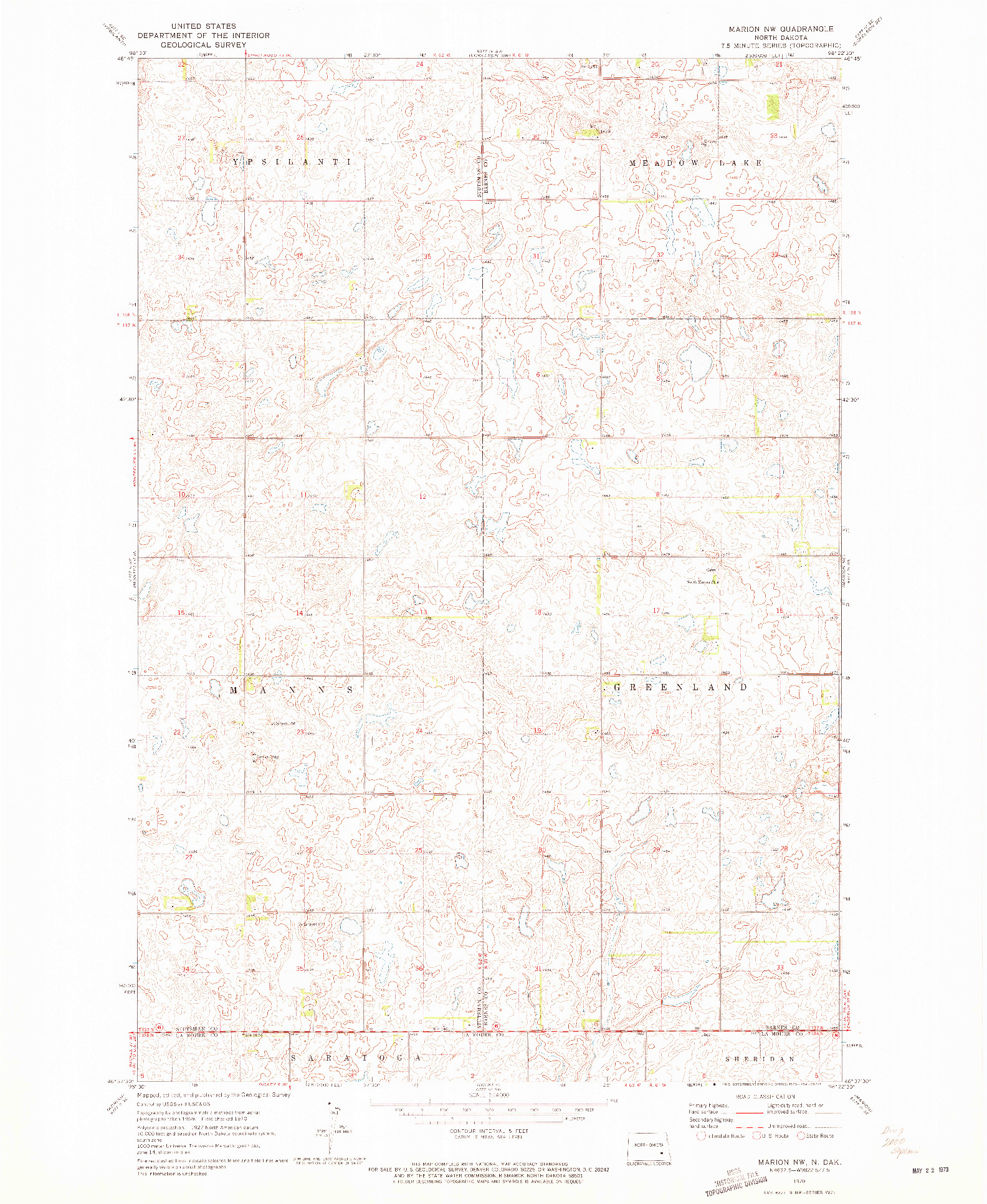 USGS 1:24000-SCALE QUADRANGLE FOR MARION NW, ND 1970