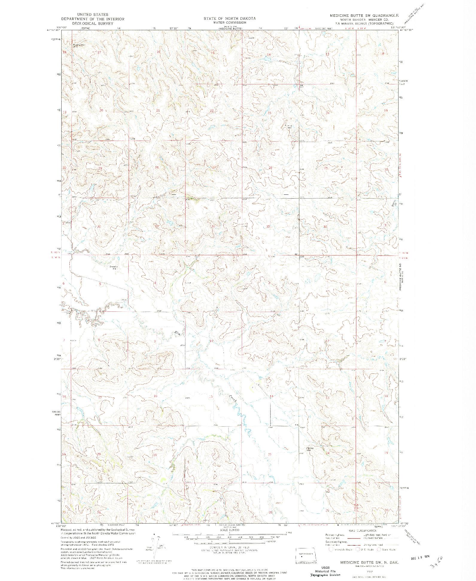 USGS 1:24000-SCALE QUADRANGLE FOR MEDICINE BUTTE SW, ND 1972