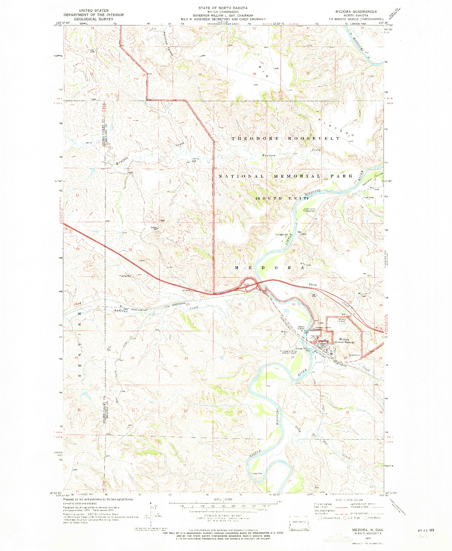 USGS 1:24000-SCALE QUADRANGLE FOR MEDORA, ND 1970