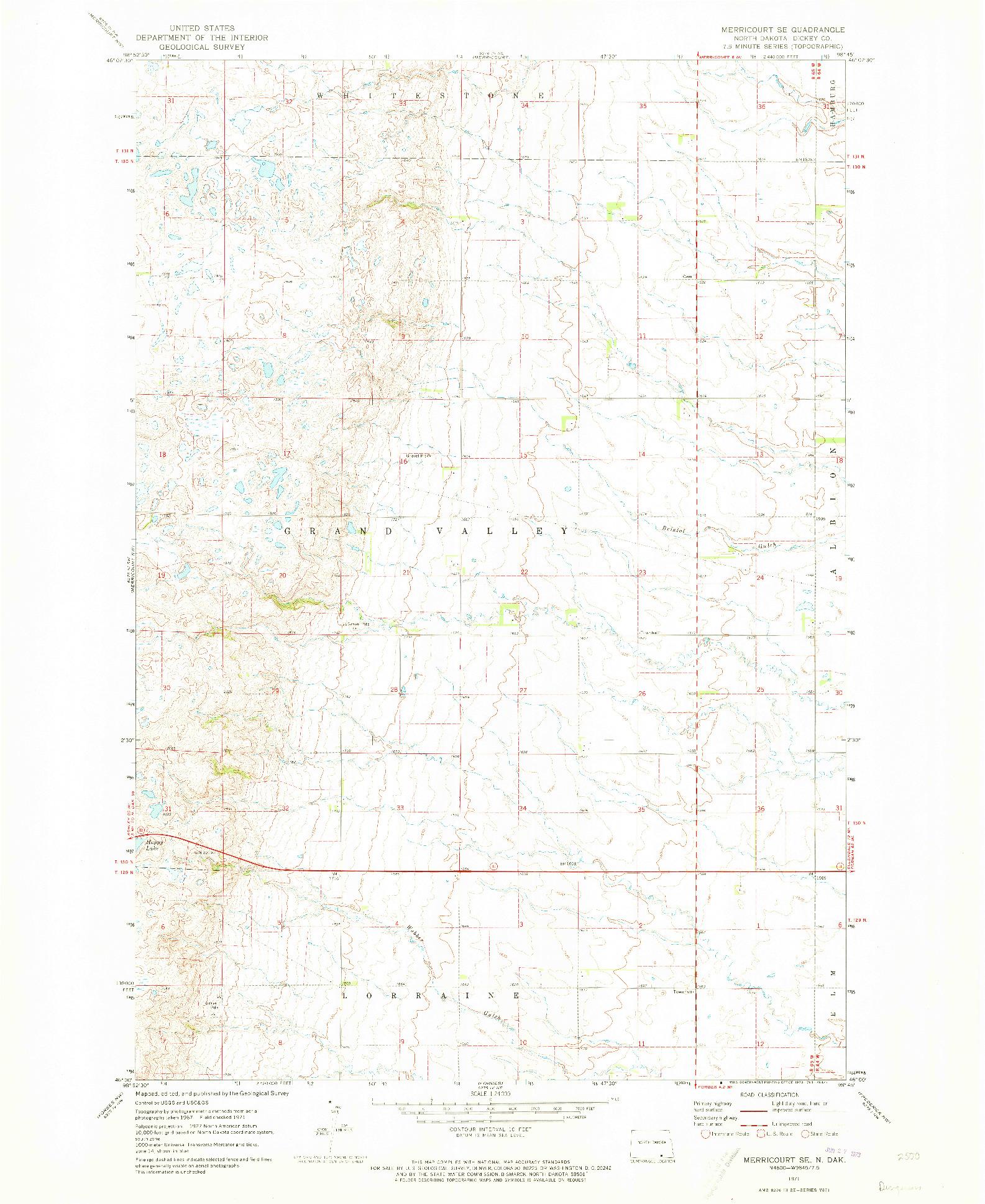 USGS 1:24000-SCALE QUADRANGLE FOR MERRICOURT SE, ND 1971