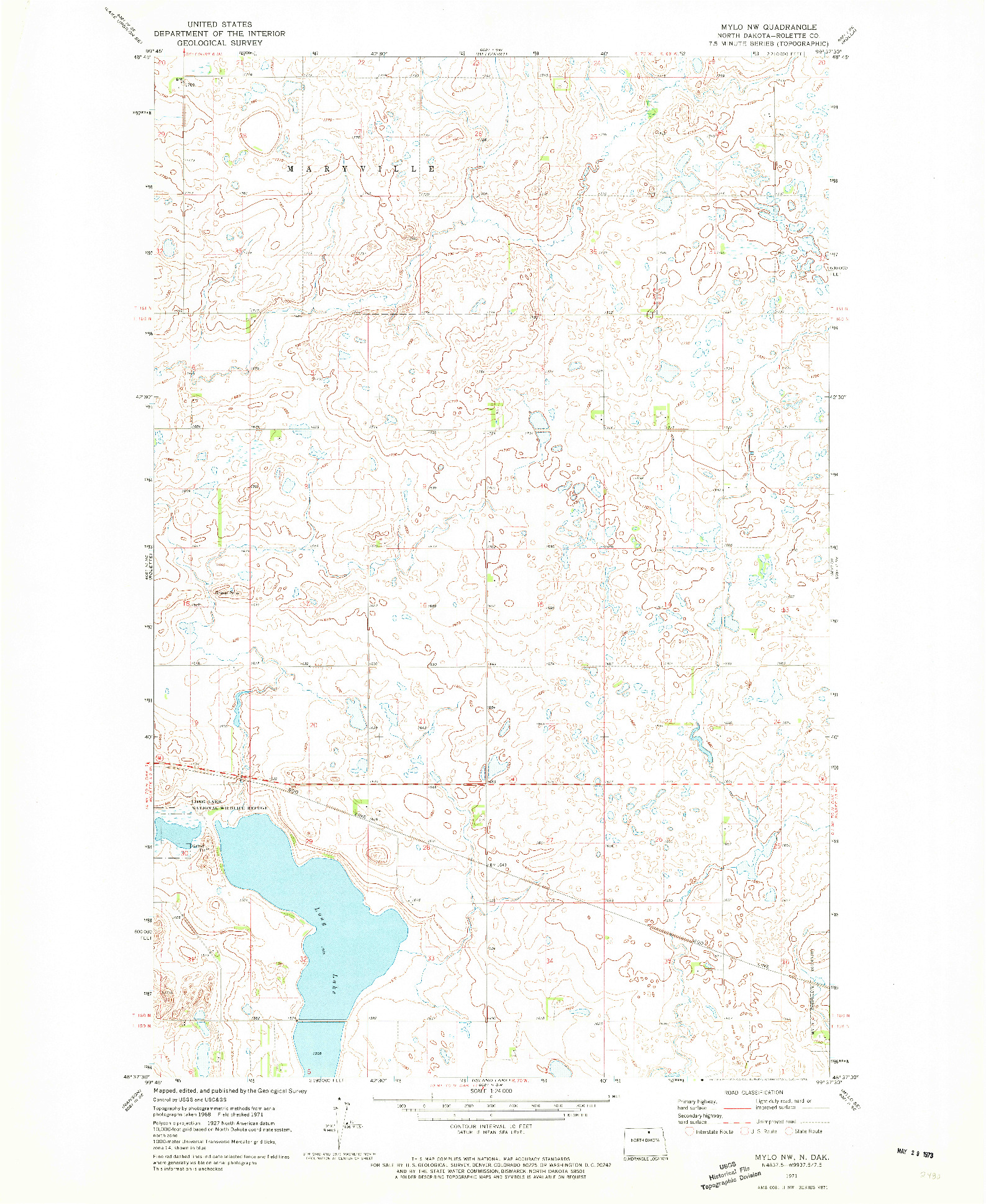 USGS 1:24000-SCALE QUADRANGLE FOR MYLO NW, ND 1971