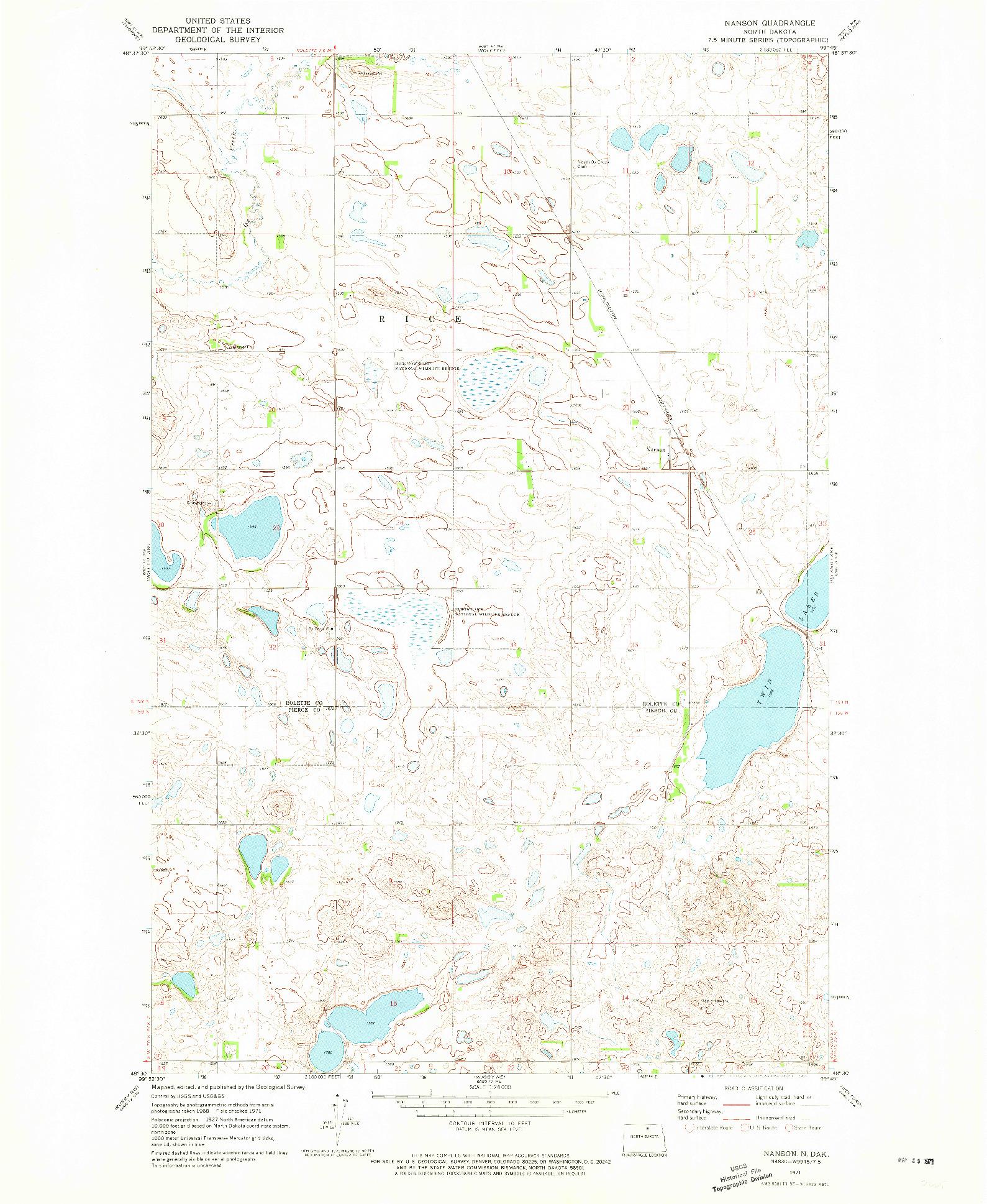 USGS 1:24000-SCALE QUADRANGLE FOR NANSON, ND 1971