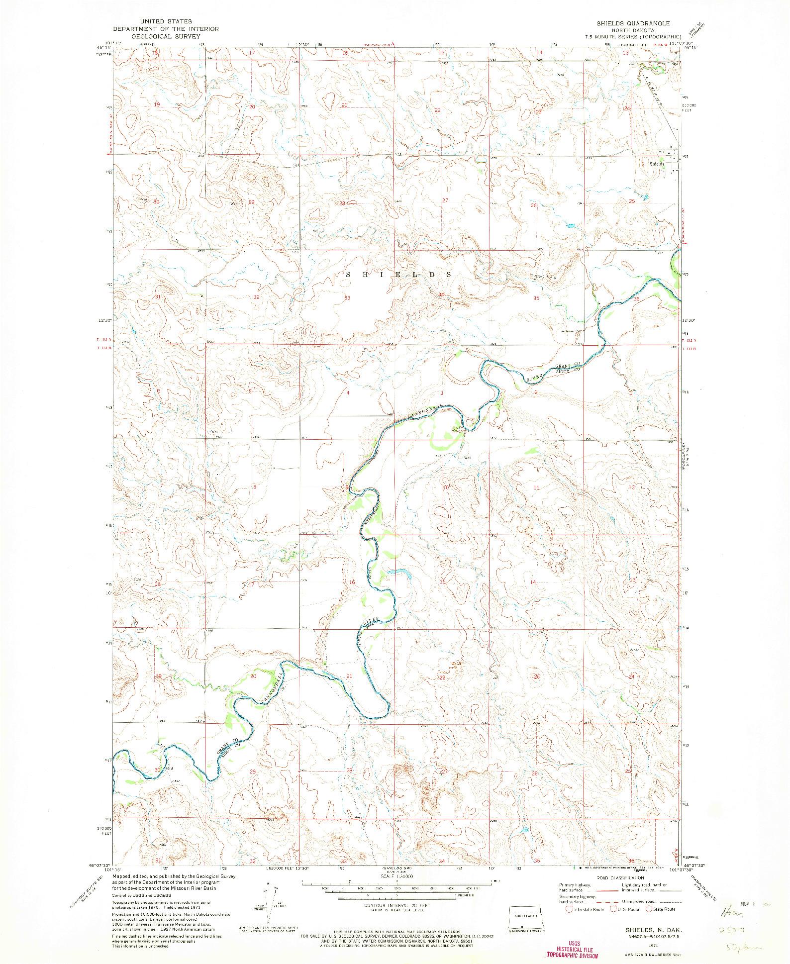 USGS 1:24000-SCALE QUADRANGLE FOR SHIELDS, ND 1971