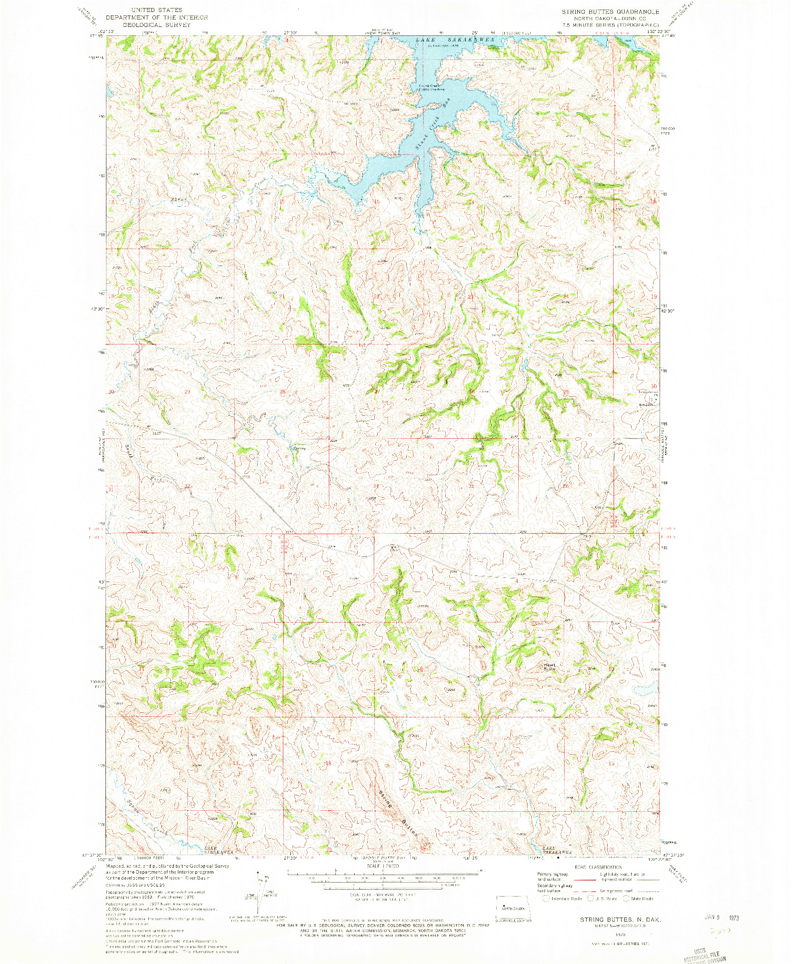 USGS 1:24000-SCALE QUADRANGLE FOR STRING BUTTES, ND 1970