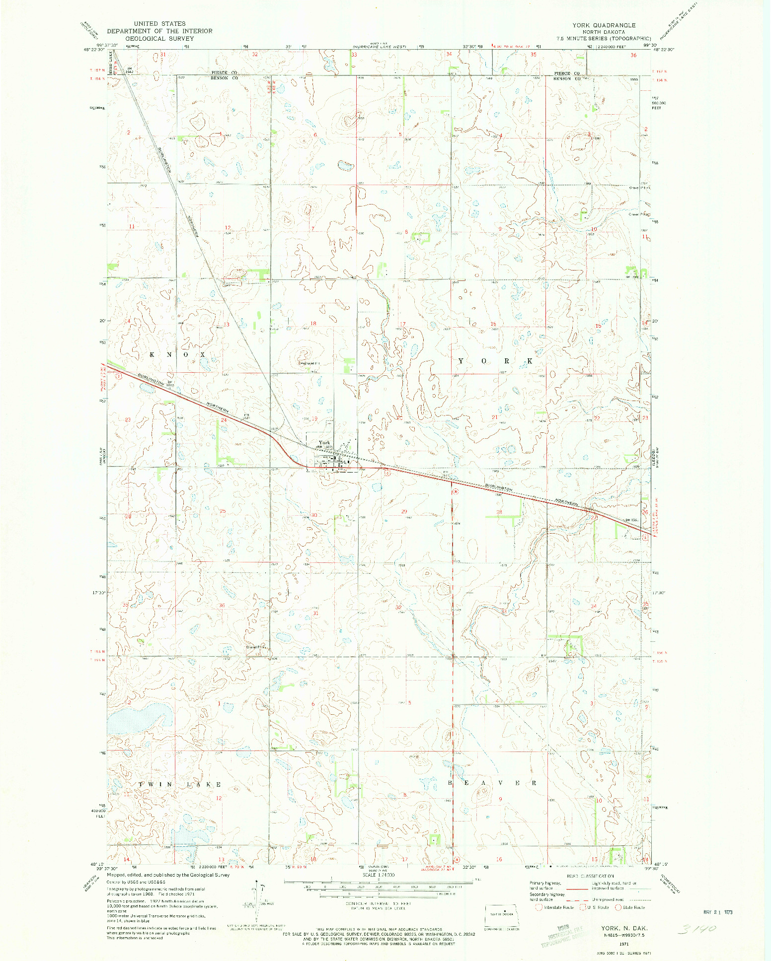 USGS 1:24000-SCALE QUADRANGLE FOR YORK, ND 1971