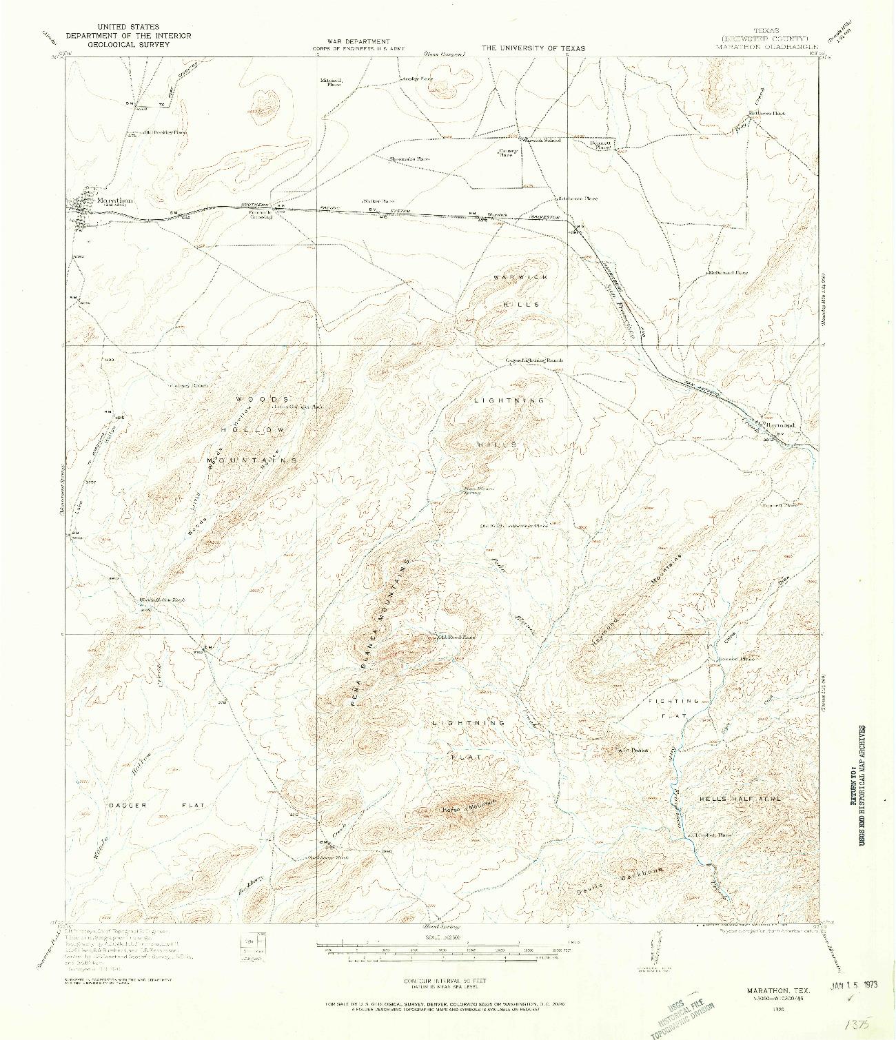 USGS 1:62500-SCALE QUADRANGLE FOR MARATHON, TX 1920