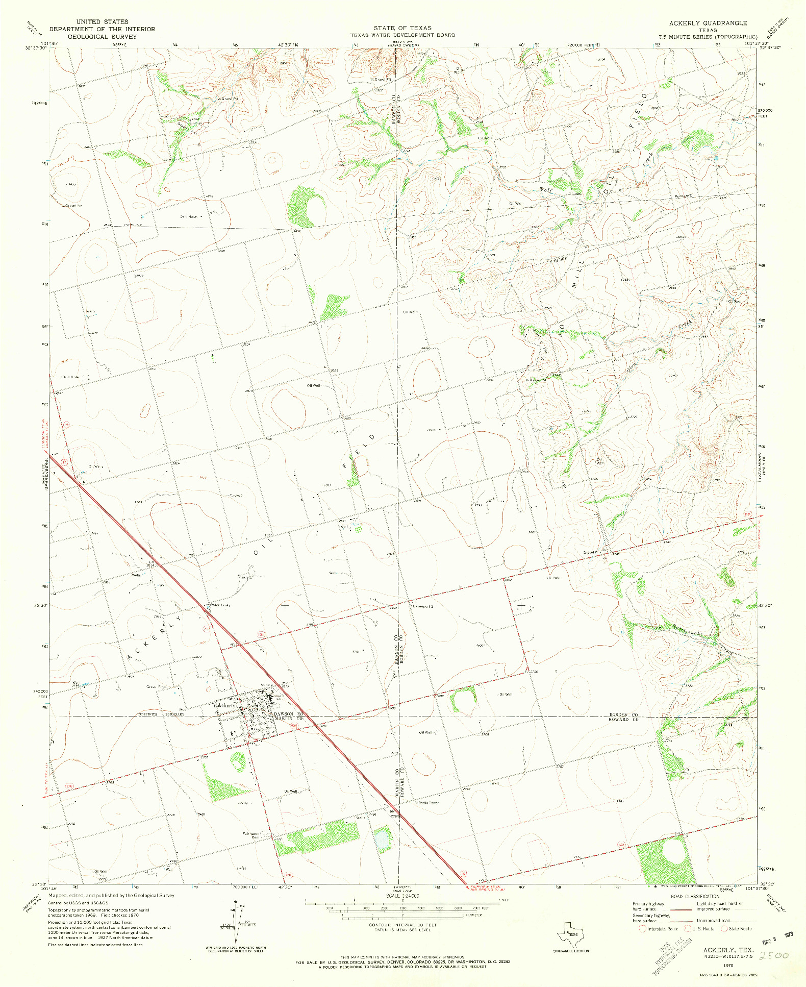 USGS 1:24000-SCALE QUADRANGLE FOR ACKERLY, TX 1970