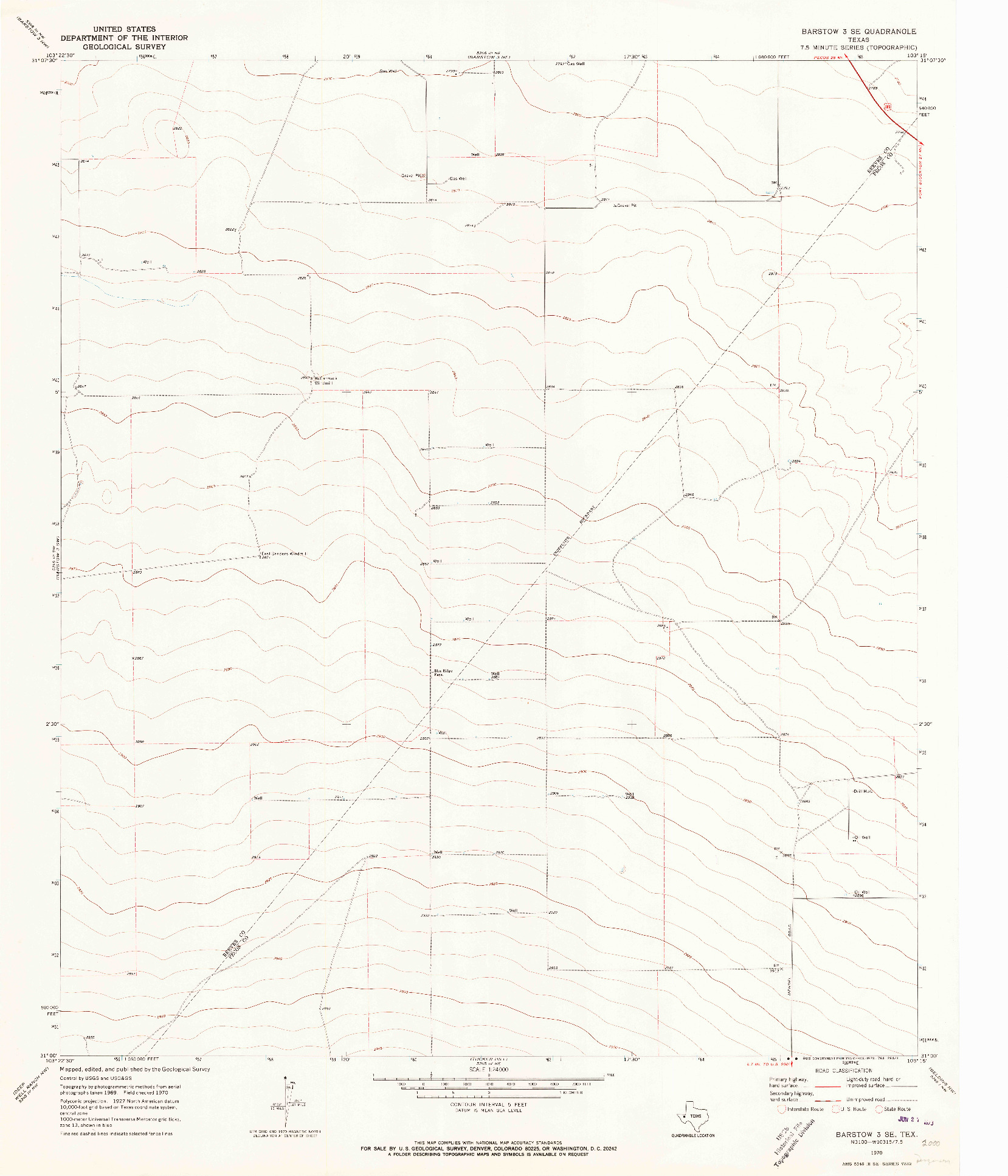 USGS 1:24000-SCALE QUADRANGLE FOR BARSTOW 3 SE, TX 1970