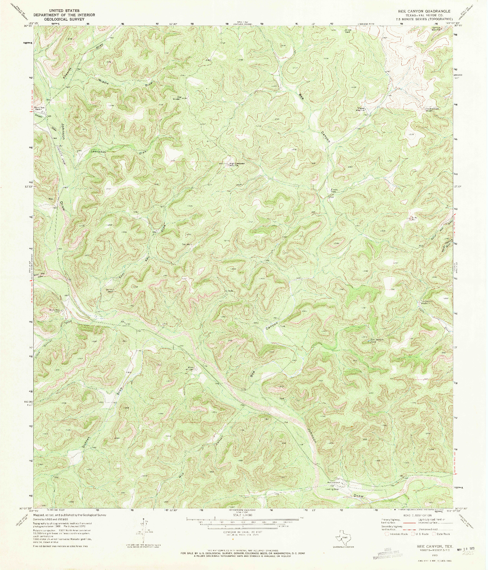 USGS 1:24000-SCALE QUADRANGLE FOR BEE CANYON, TX 1970