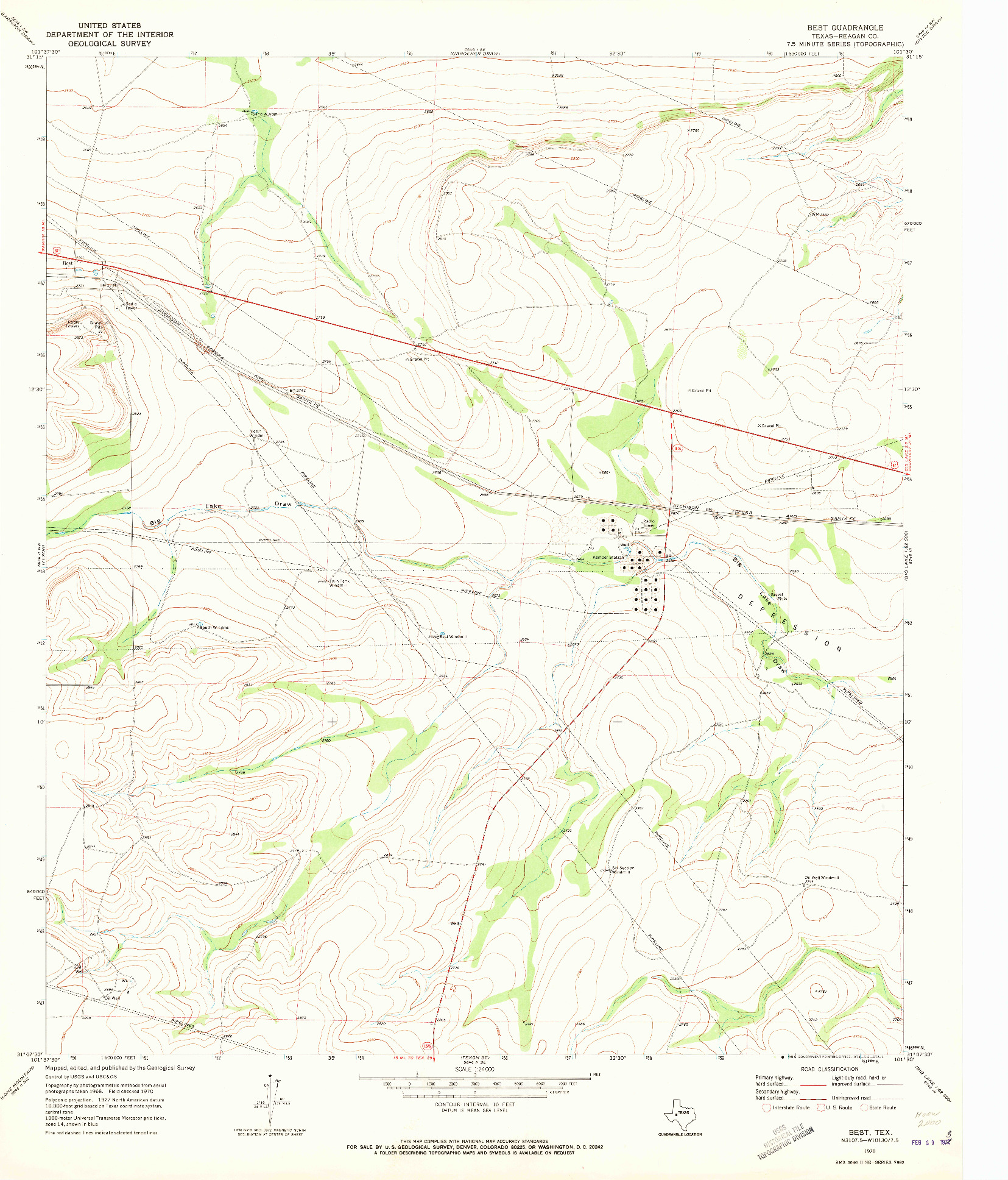 USGS 1:24000-SCALE QUADRANGLE FOR BEST, TX 1970