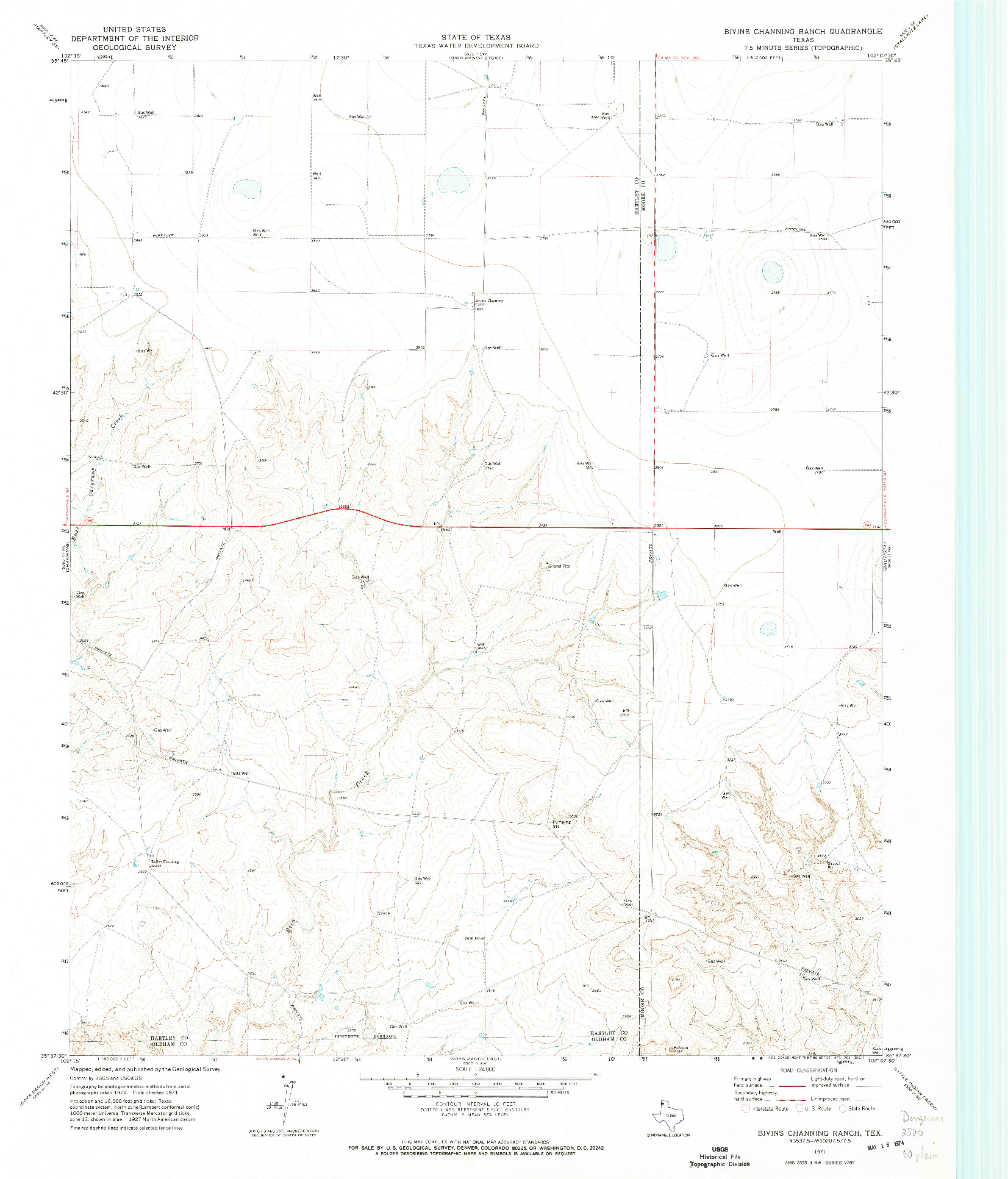 USGS 1:24000-SCALE QUADRANGLE FOR BIVINS CHANNING RANCH, TX 1971