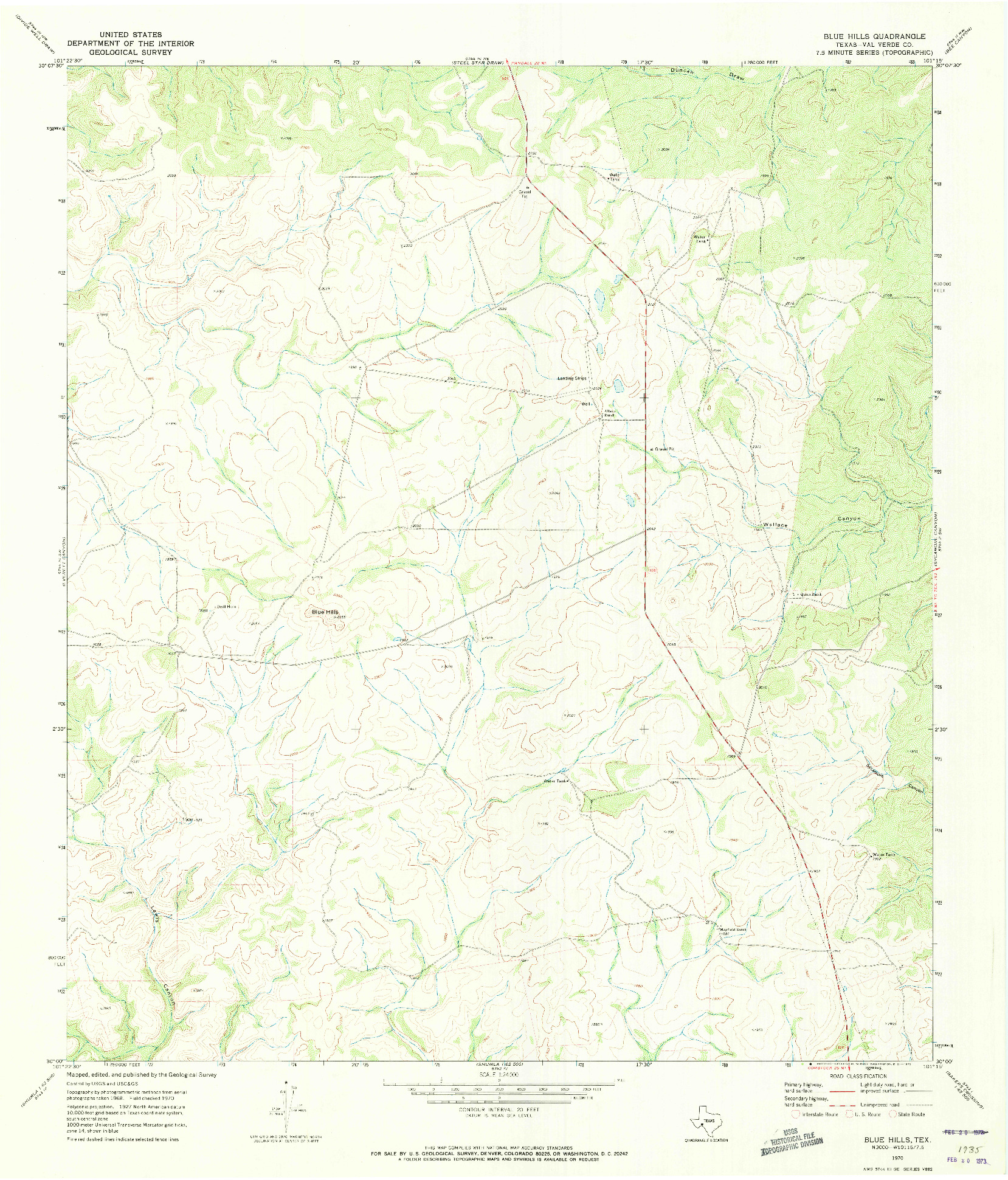 USGS 1:24000-SCALE QUADRANGLE FOR BLUE HILLS, TX 1970