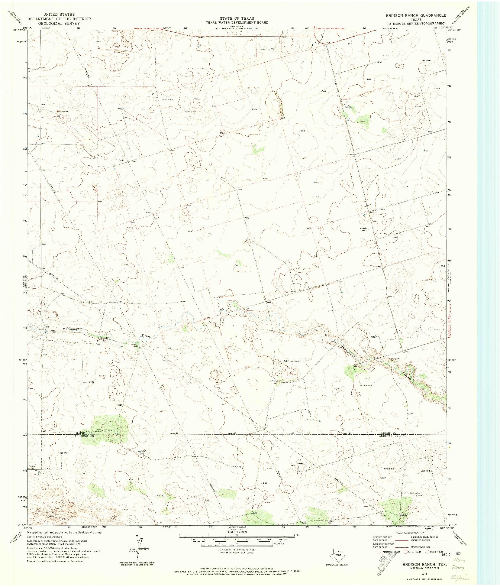 USGS 1:24000-SCALE QUADRANGLE FOR BRINSON RANCH, TX 1971