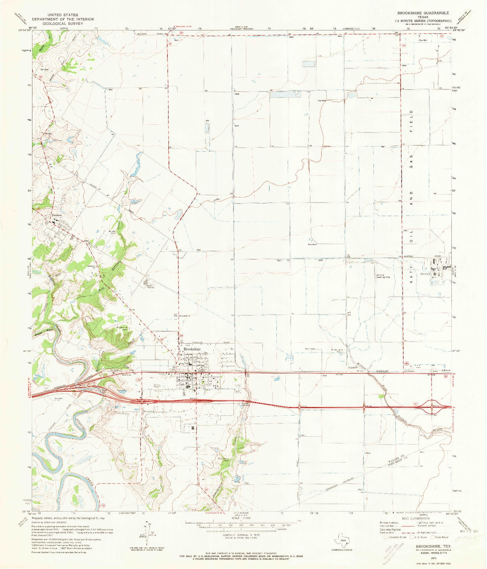 USGS 1:24000-SCALE QUADRANGLE FOR BROOKSHIRE, TX 1971