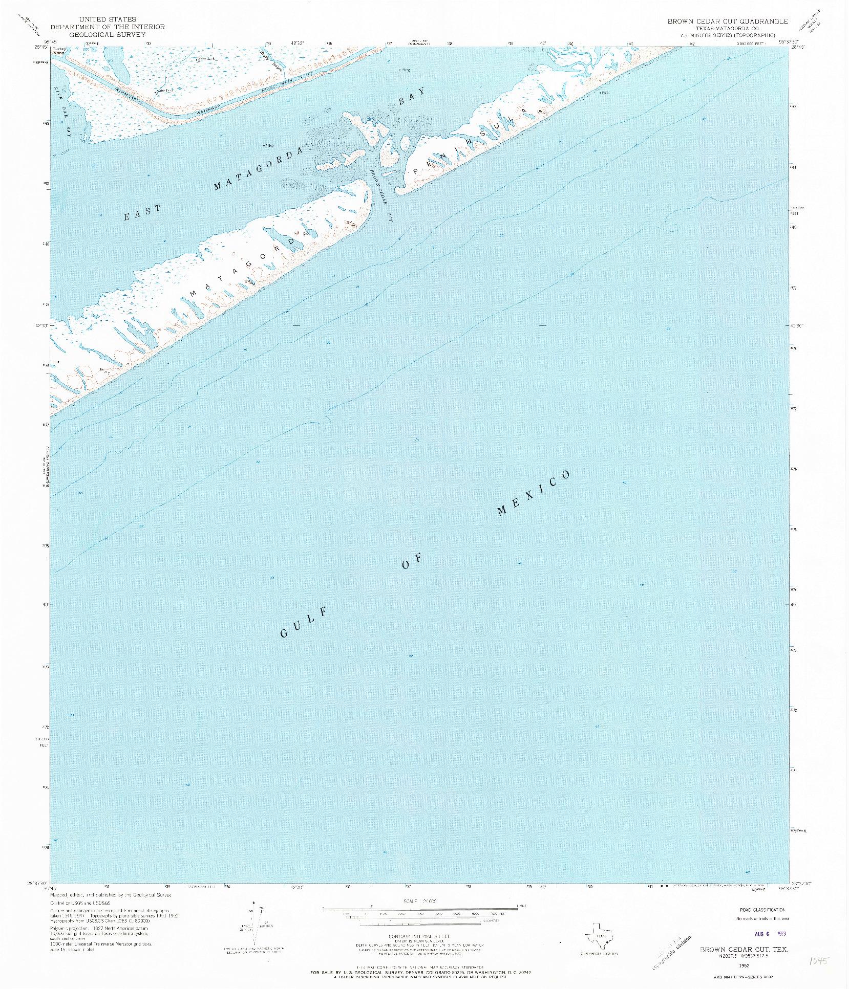 USGS 1:24000-SCALE QUADRANGLE FOR BROWN CEDAR CUT, TX 1952