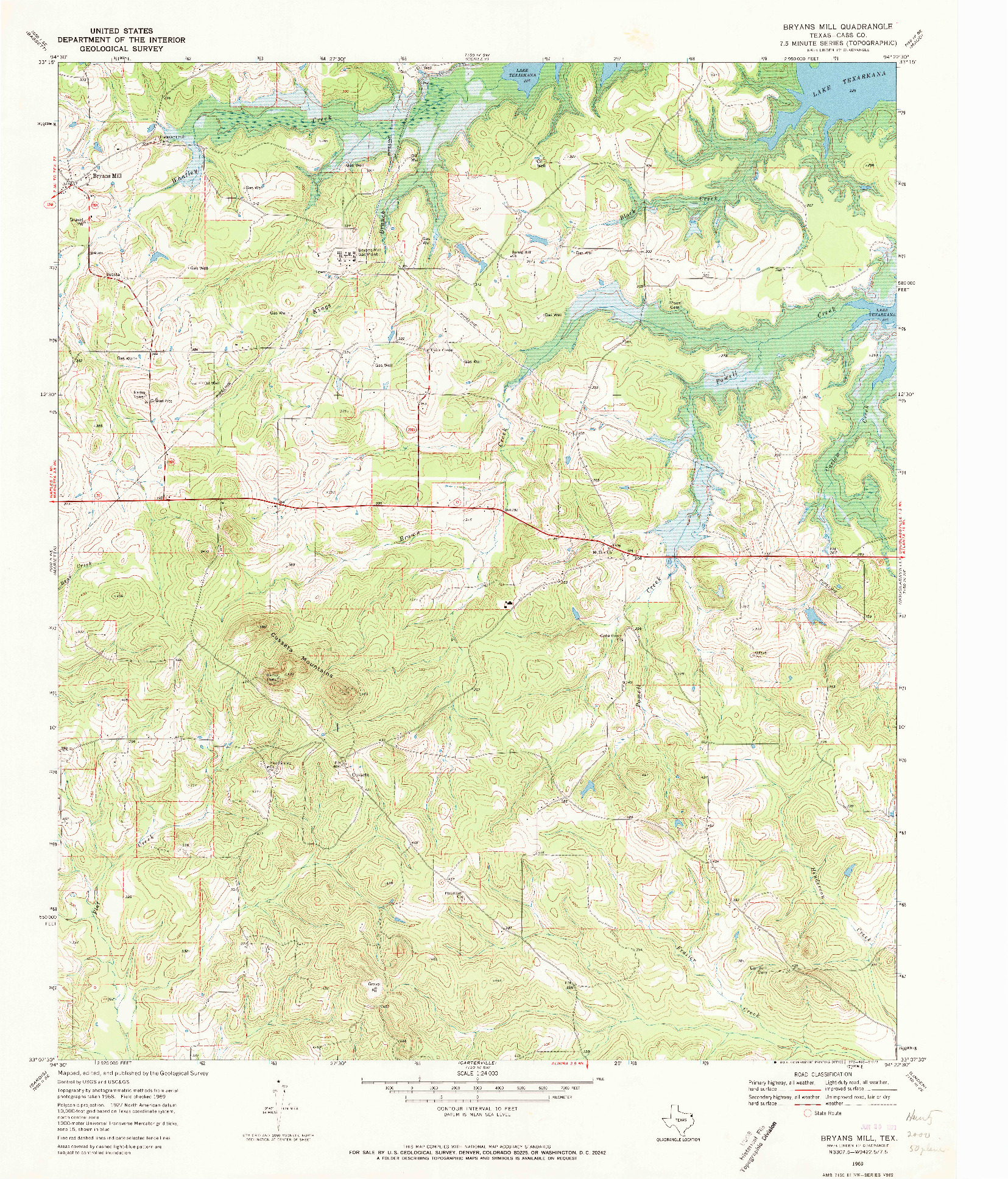 USGS 1:24000-SCALE QUADRANGLE FOR BRYANS MILL, TX 1969