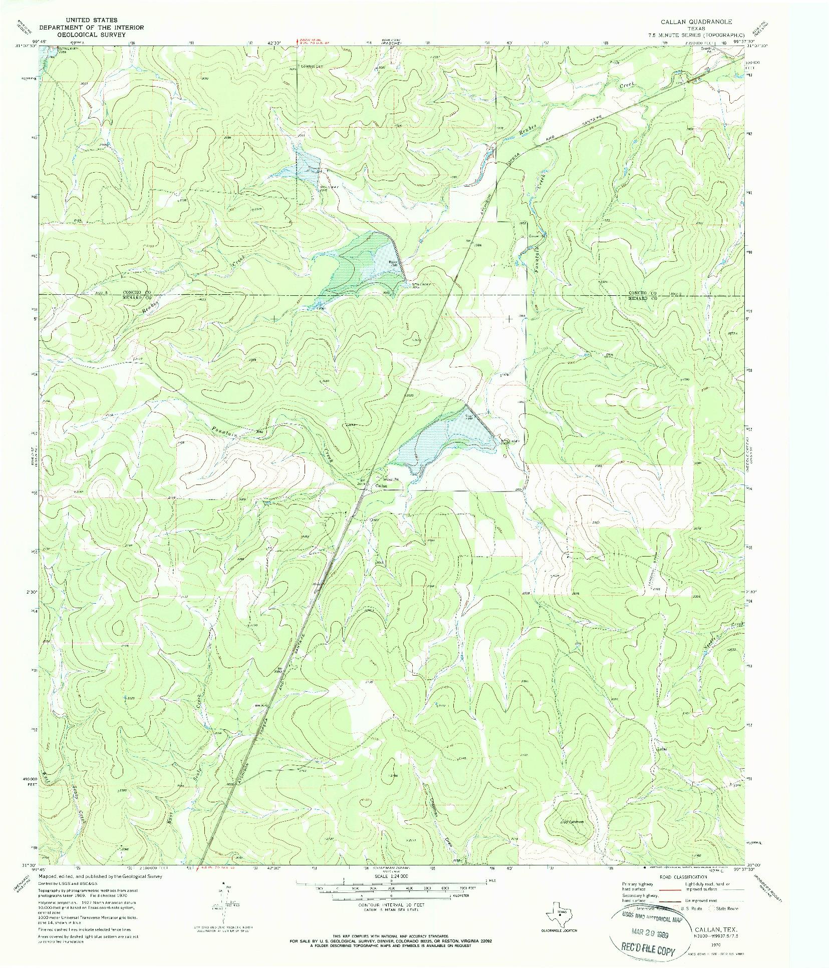 USGS 1:24000-SCALE QUADRANGLE FOR CALLAN, TX 1970