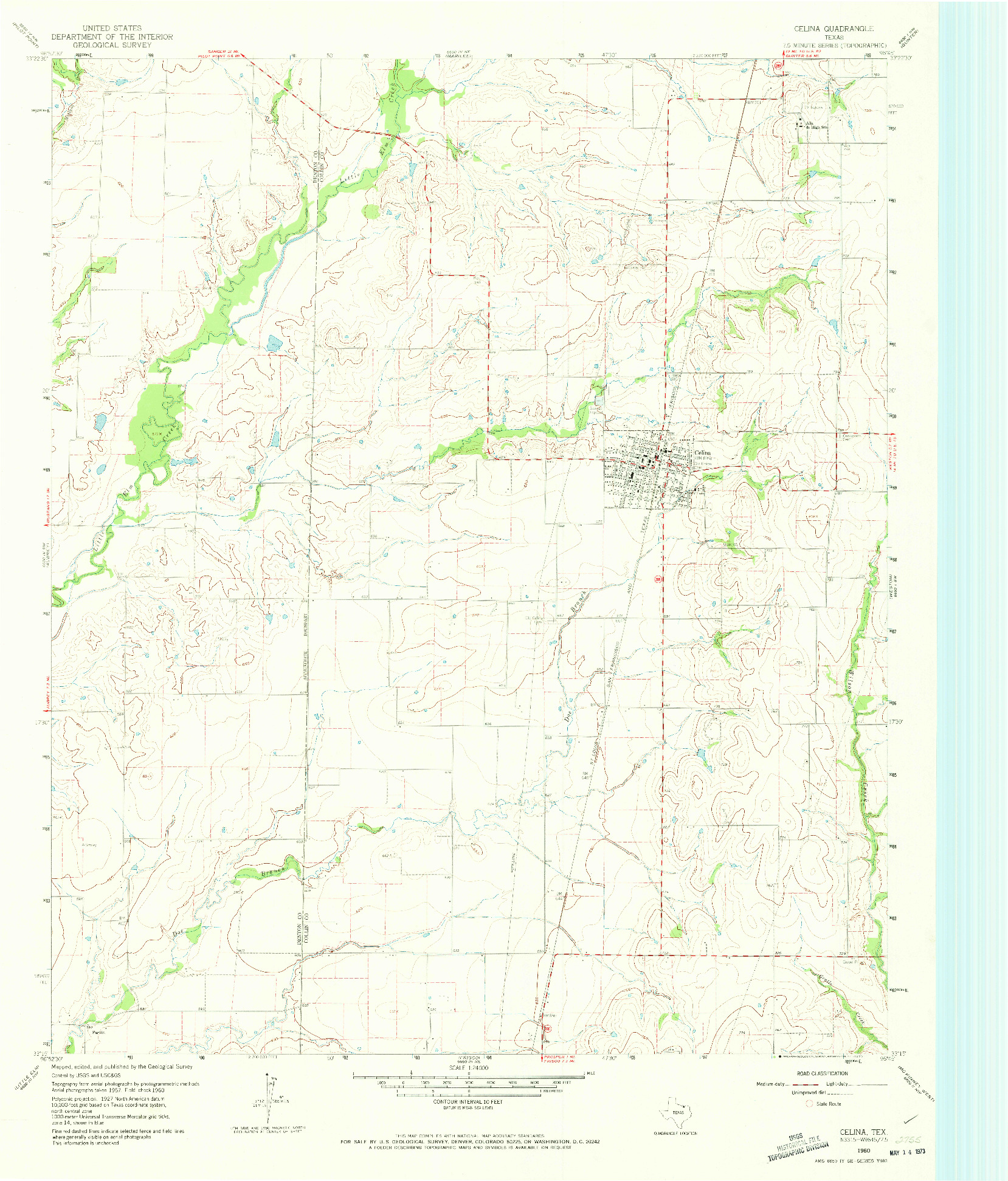 USGS 1:24000-SCALE QUADRANGLE FOR CELINA, TX 1960