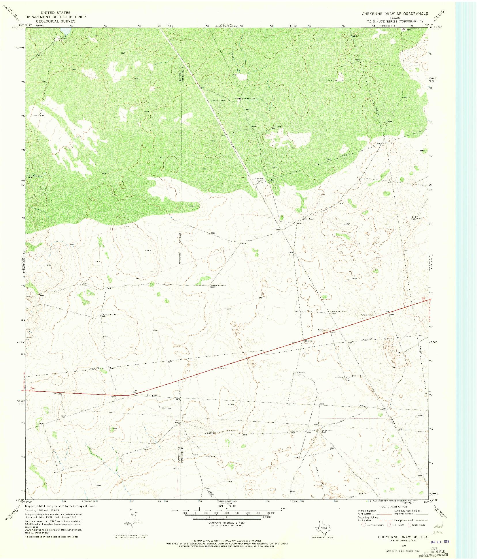 USGS 1:24000-SCALE QUADRANGLE FOR CHEYENNE DRAW SE, TX 1970