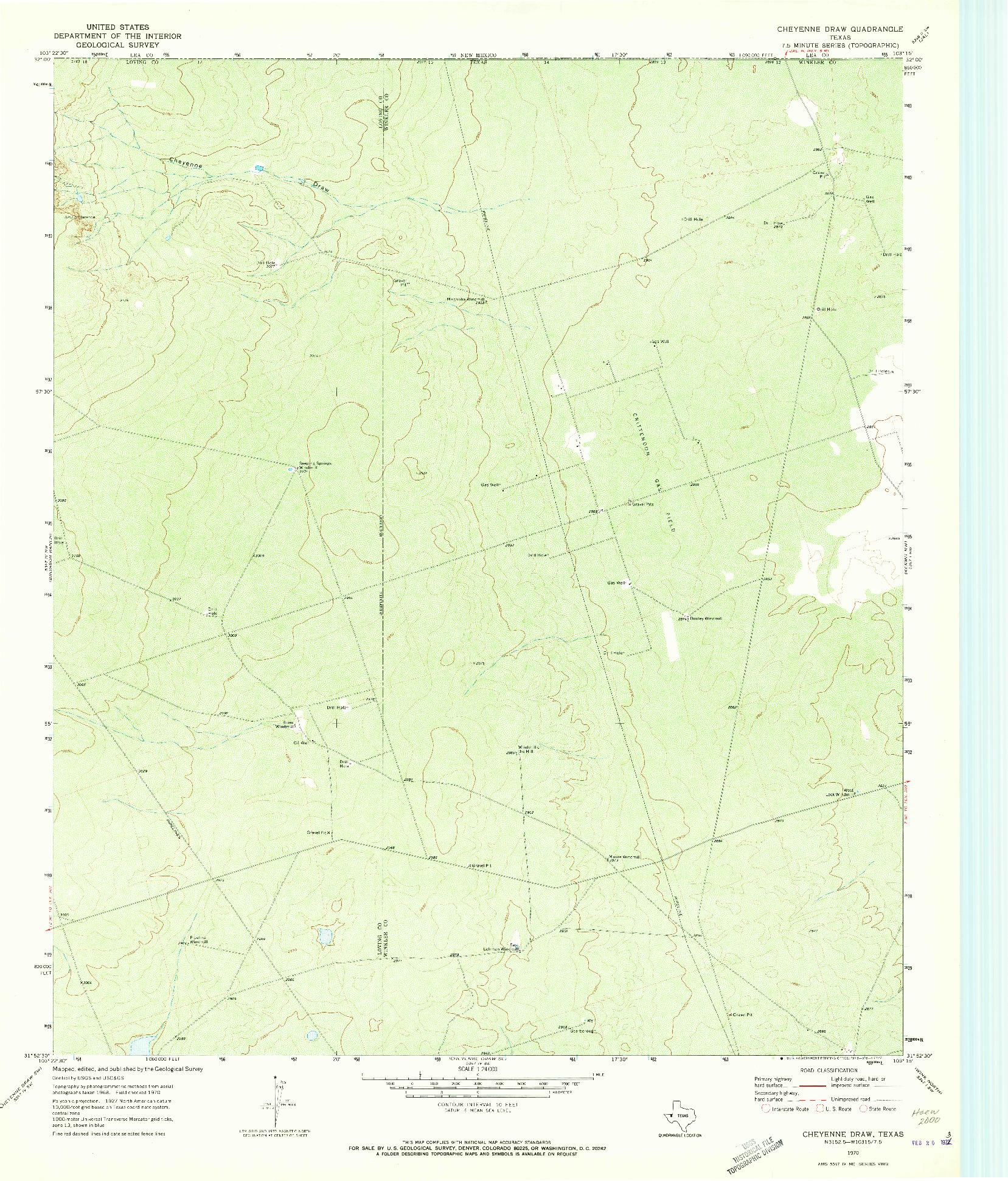 USGS 1:24000-SCALE QUADRANGLE FOR CHEYENNE DRAW, TX 1970