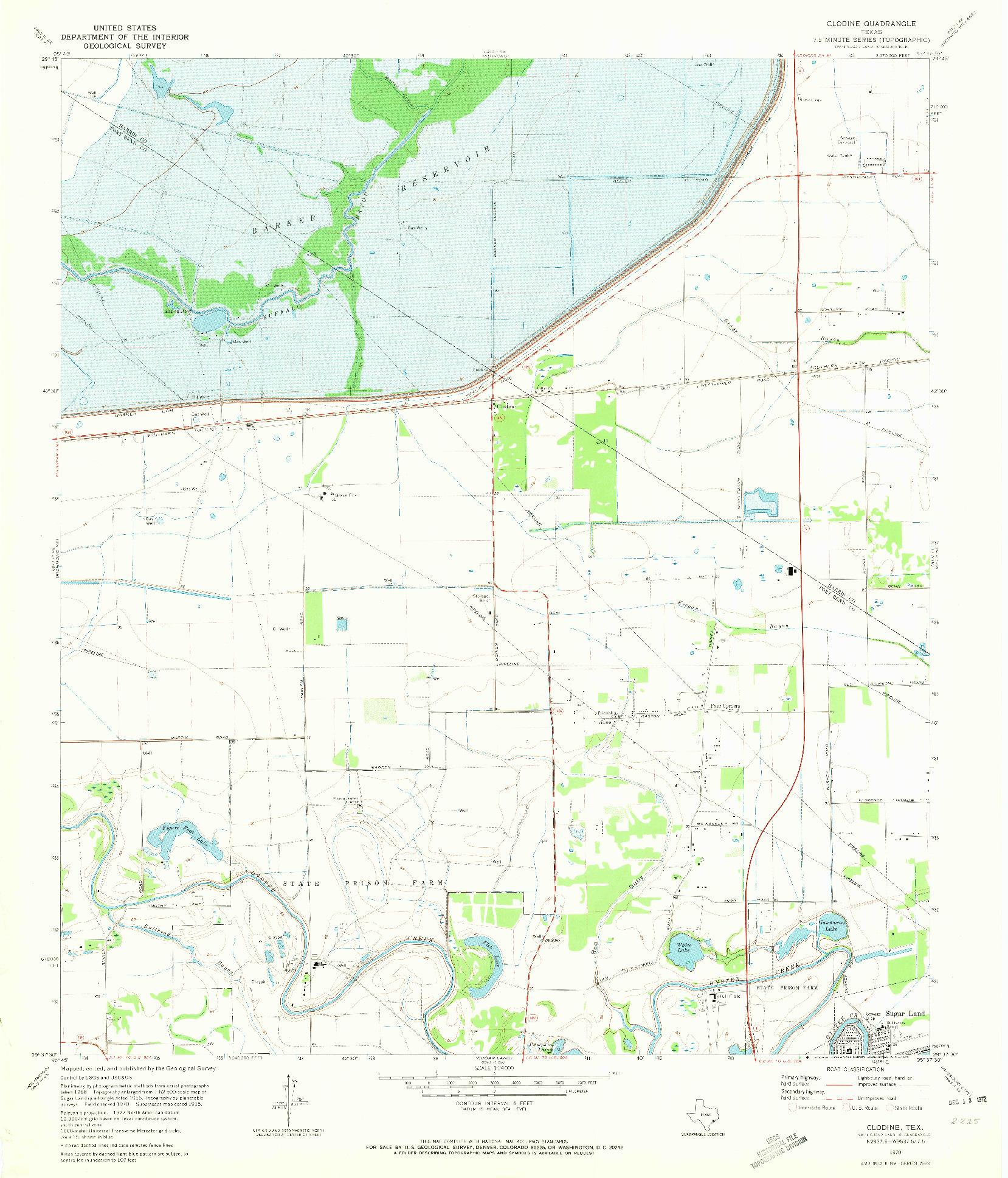 USGS 1:24000-SCALE QUADRANGLE FOR CLODINE, TX 1970