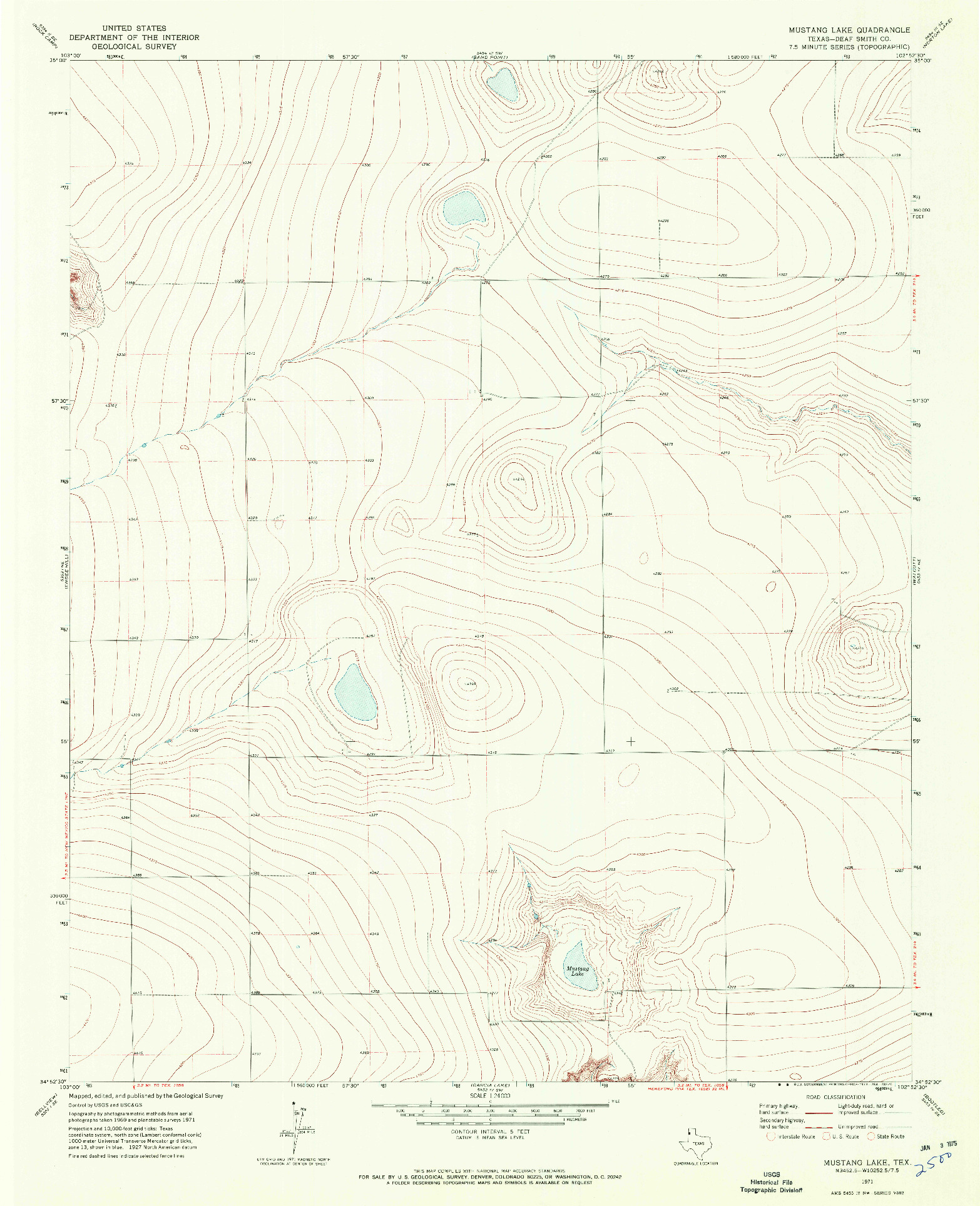 USGS 1:24000-SCALE QUADRANGLE FOR MUSTANG LAKE, TX 1971