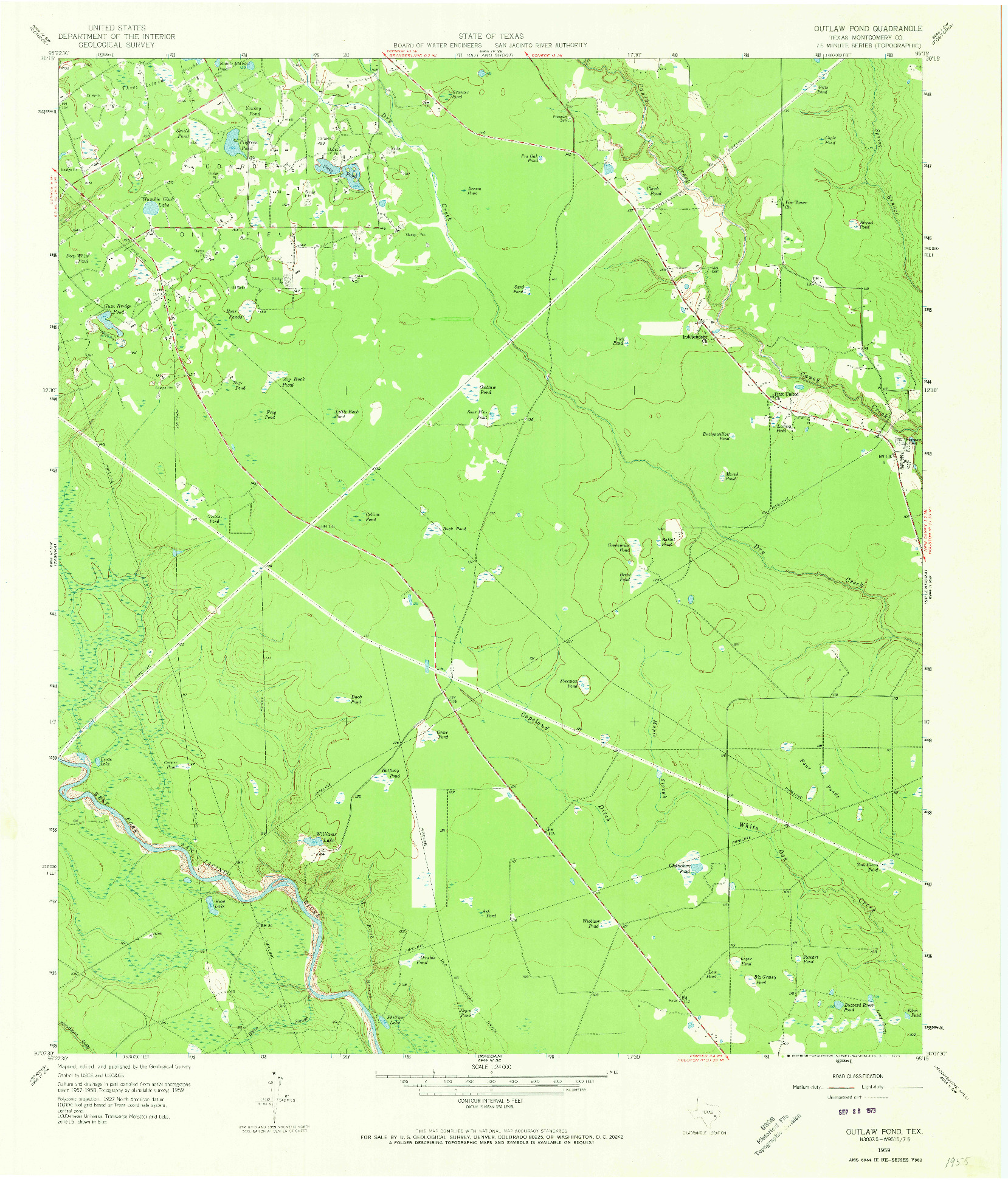 USGS 1:24000-SCALE QUADRANGLE FOR OUTLAW POND, TX 1959