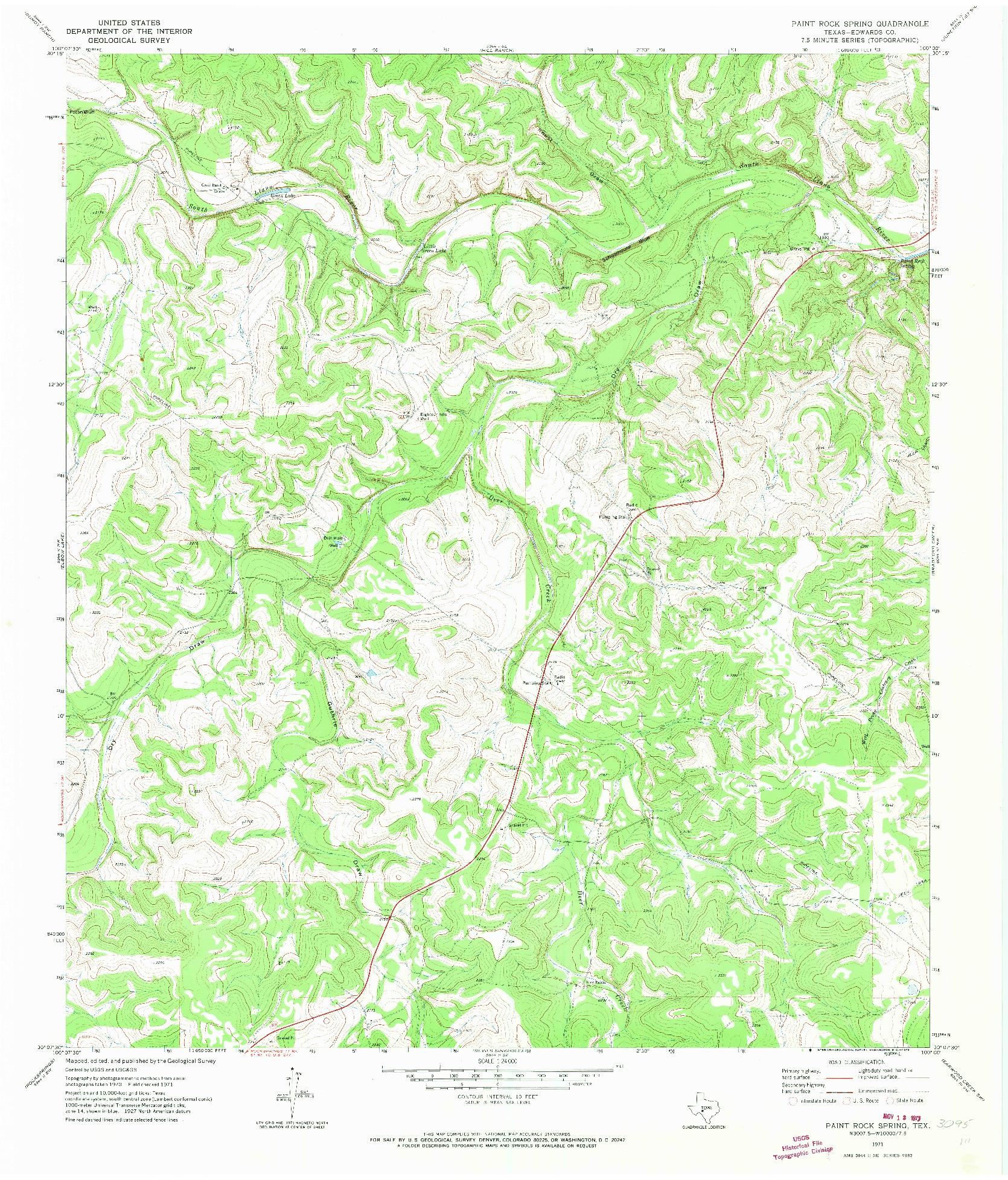 USGS 1:24000-SCALE QUADRANGLE FOR PAINT ROCK SPRING, TX 1971