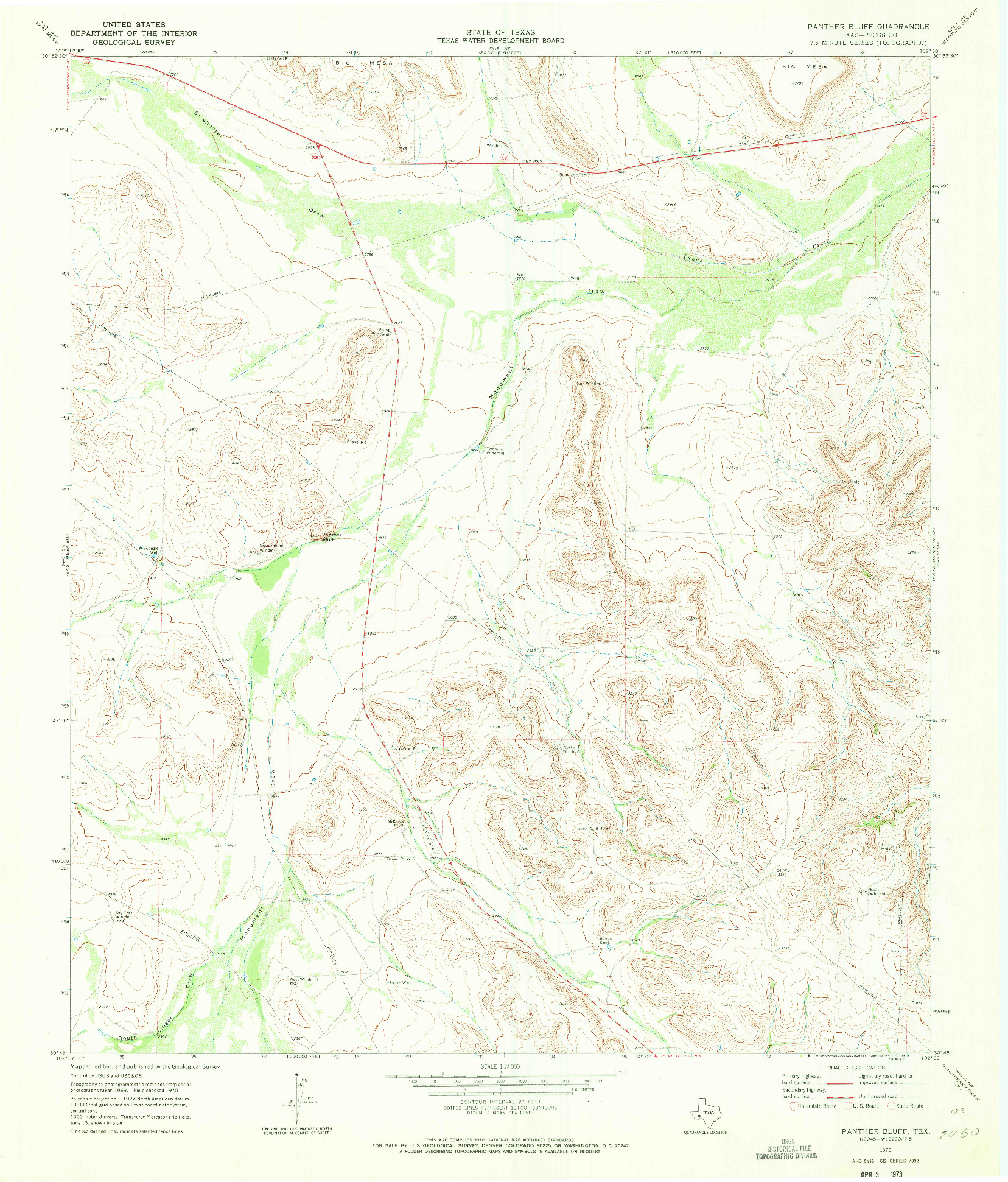 USGS 1:24000-SCALE QUADRANGLE FOR PANTHER BLUFF, TX 1970