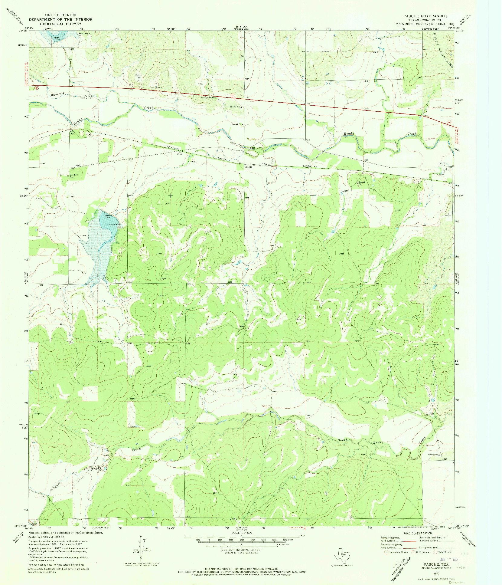 USGS 1:24000-SCALE QUADRANGLE FOR PASCHE, TX 1970