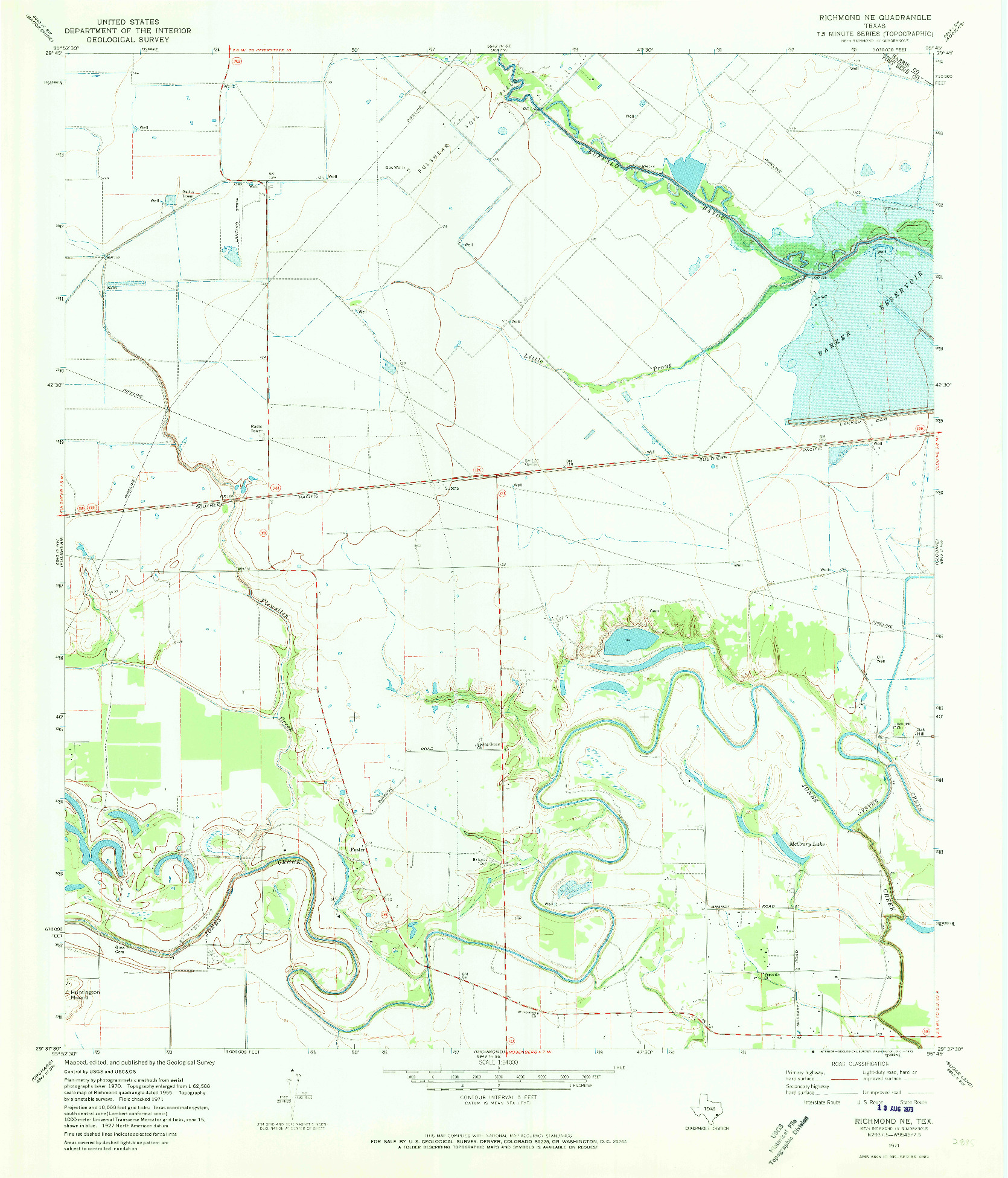 USGS 1:24000-SCALE QUADRANGLE FOR RICHMOND NE, TX 1971
