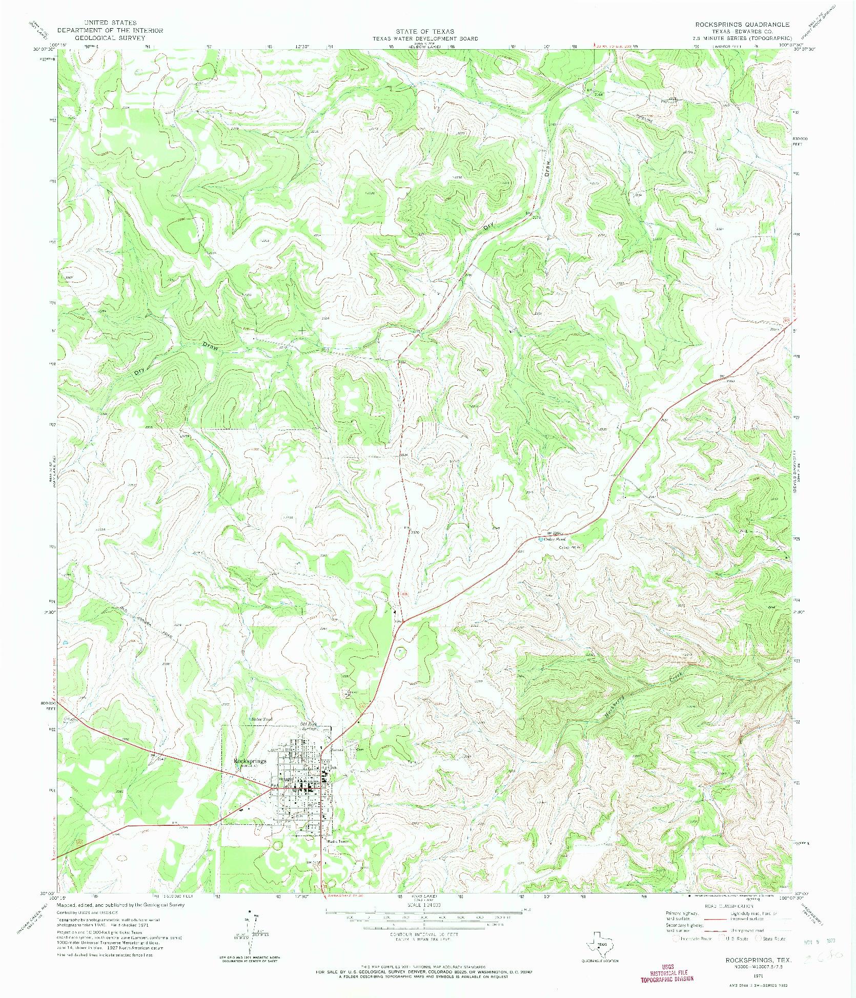 USGS 1:24000-SCALE QUADRANGLE FOR ROCKSPRINGS, TX 1971