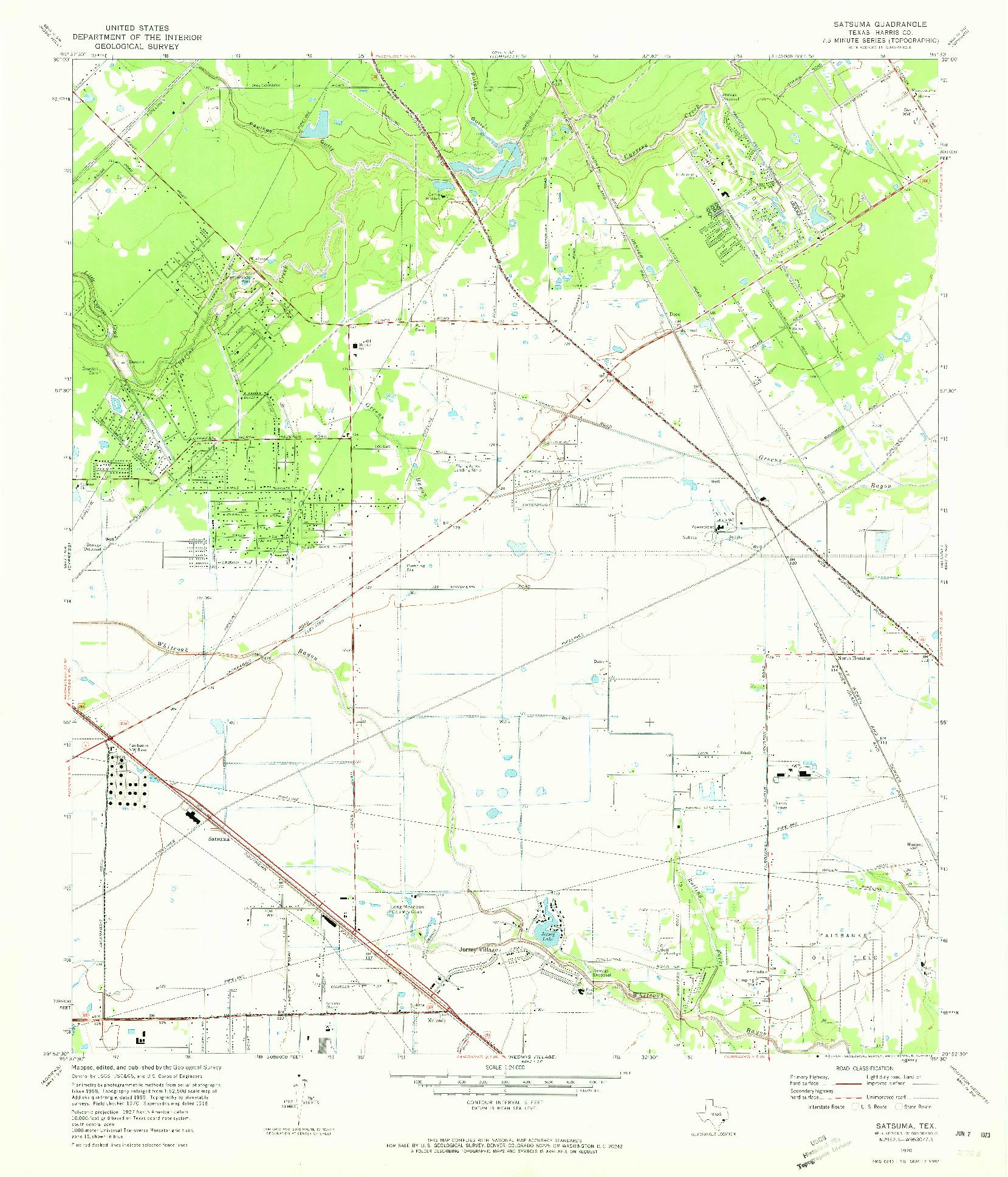 USGS 1:24000-SCALE QUADRANGLE FOR SATSUMA, TX 1970