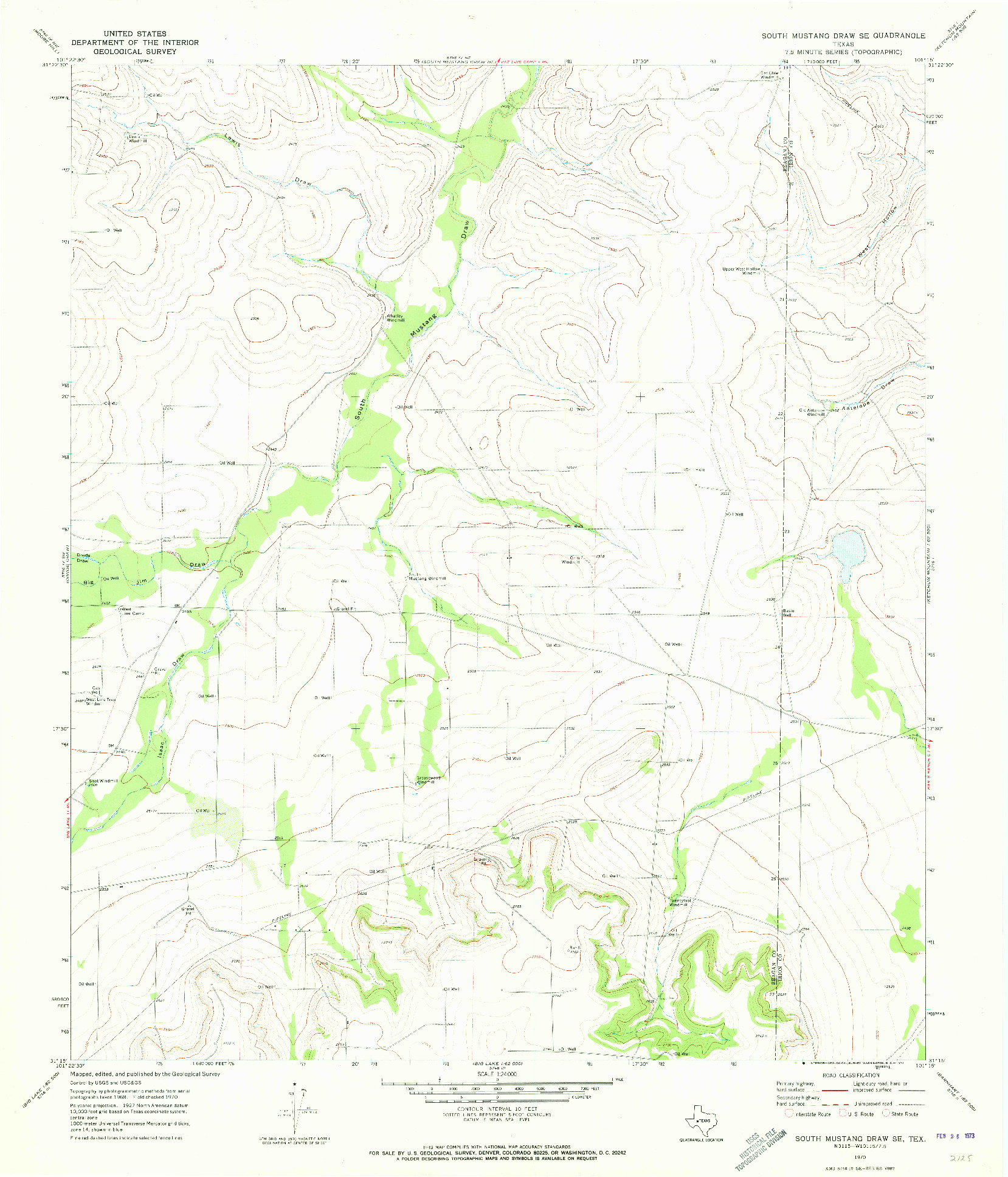 USGS 1:24000-SCALE QUADRANGLE FOR SOUTH MUSTANG DRAW SE, TX 1970