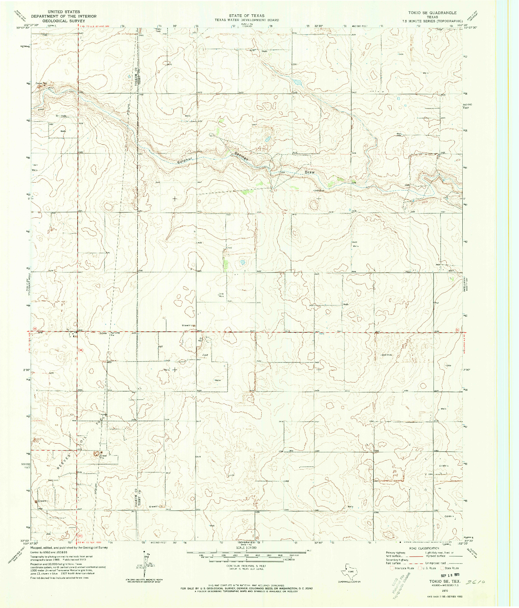 USGS 1:24000-SCALE QUADRANGLE FOR TOKIO SE, TX 1970