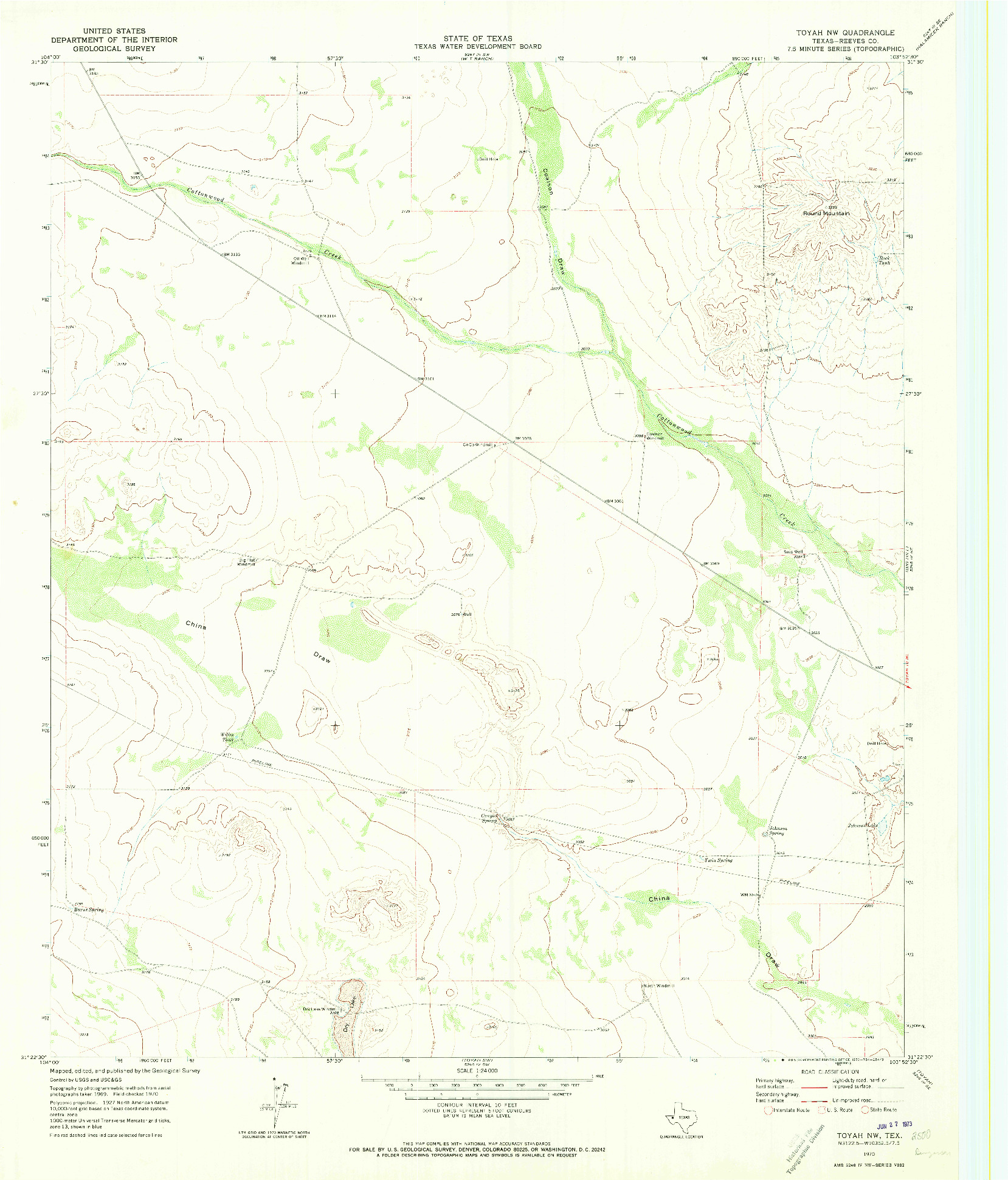 USGS 1:24000-SCALE QUADRANGLE FOR TOYAH NW, TX 1970