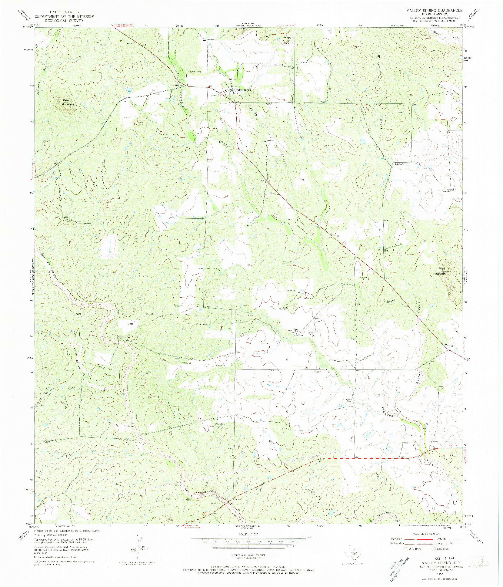 USGS 1:24000-SCALE QUADRANGLE FOR VALLEY SPRING, TX 1955