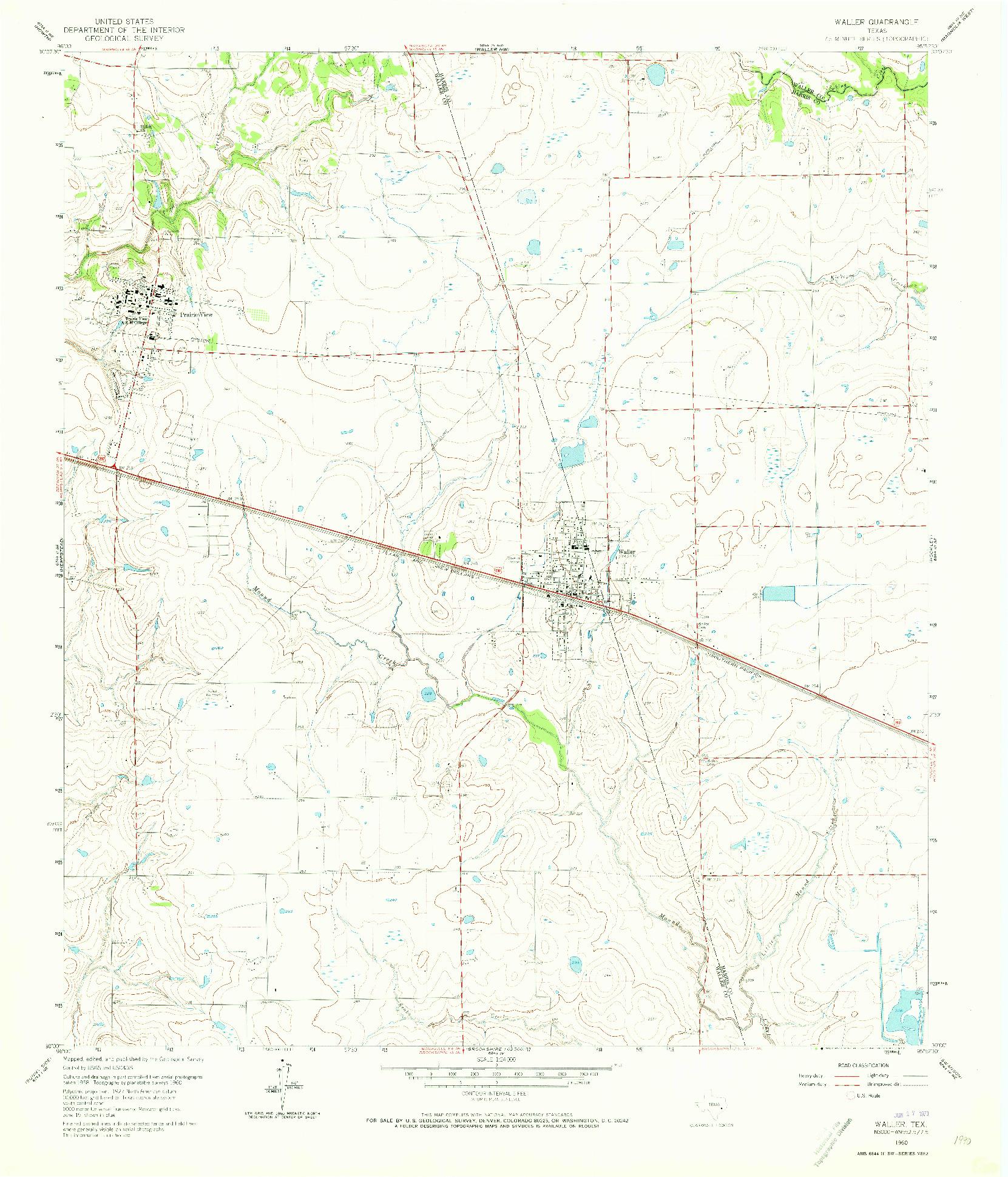 USGS 1:24000-SCALE QUADRANGLE FOR WALLER, TX 1960
