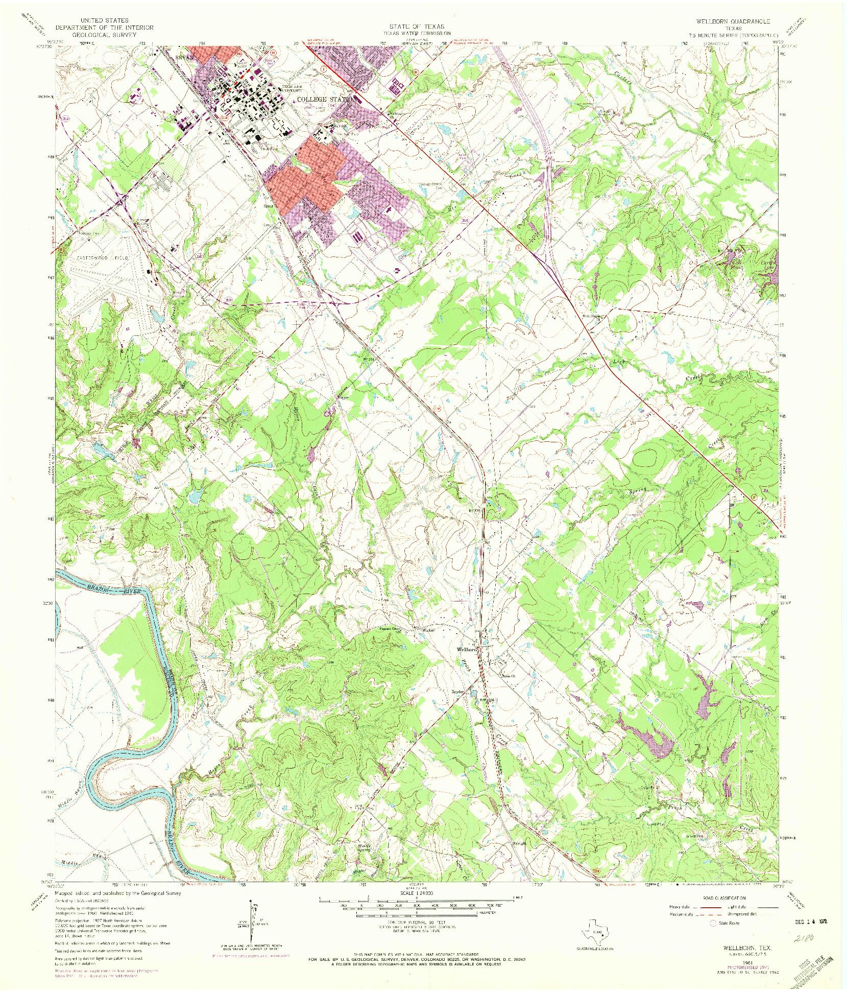 USGS 1:24000-SCALE QUADRANGLE FOR WELLBORN, TX 1961