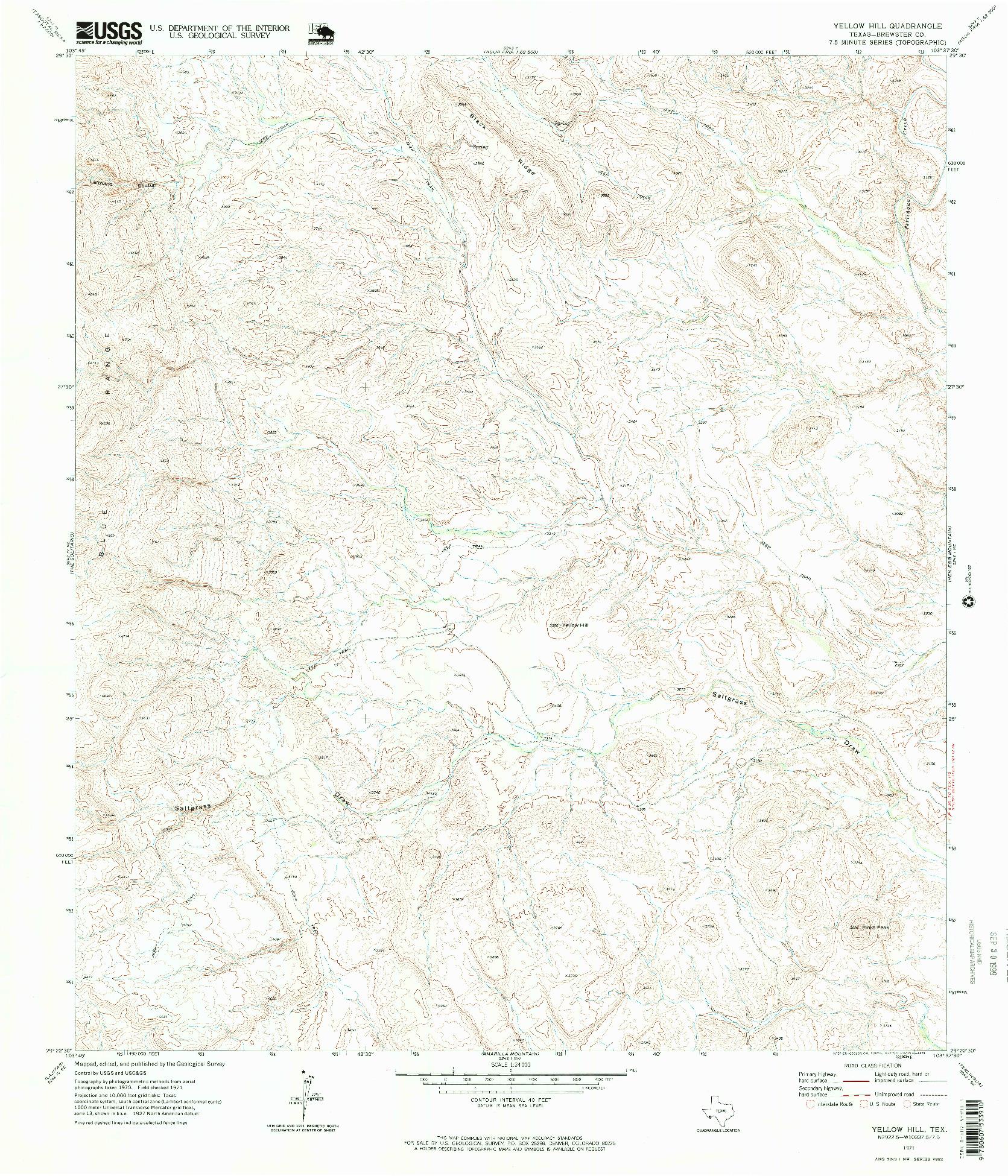 USGS 1:24000-SCALE QUADRANGLE FOR YELLOW HILL, TX 1971