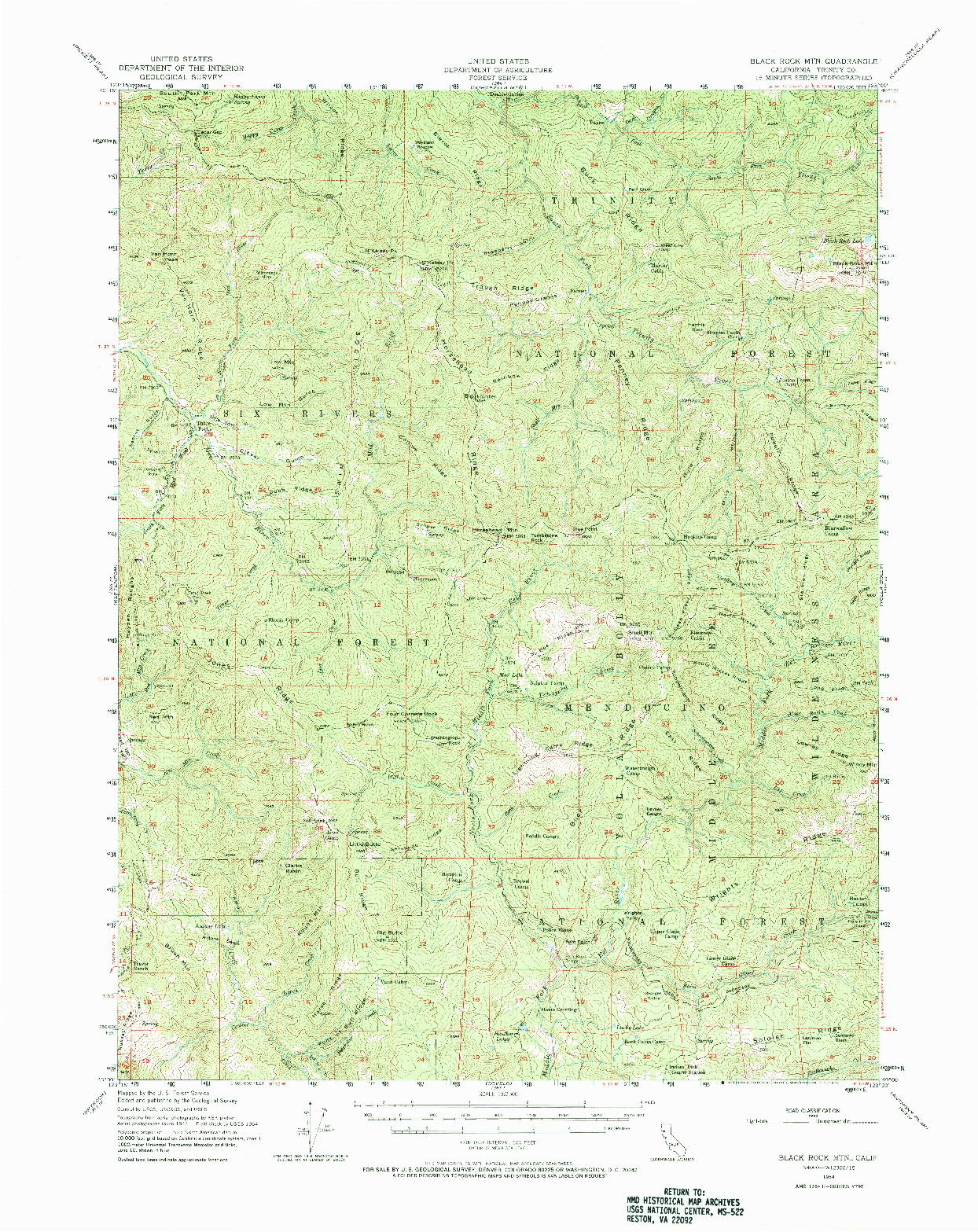 USGS 1:62500-SCALE QUADRANGLE FOR BLACKROCK MTN, CA 1954