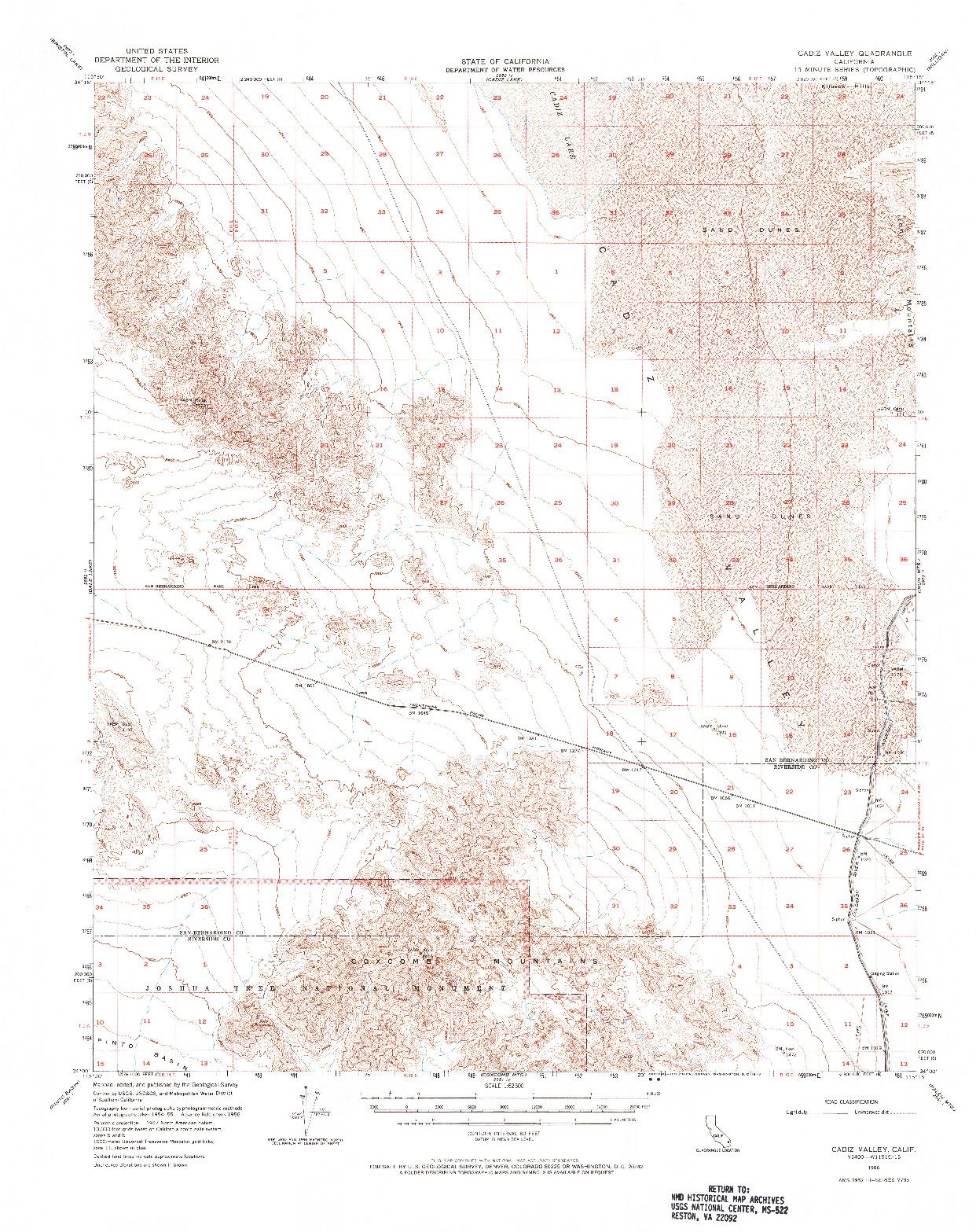 USGS 1:62500-SCALE QUADRANGLE FOR CADIZ VALLEY, CA 1956