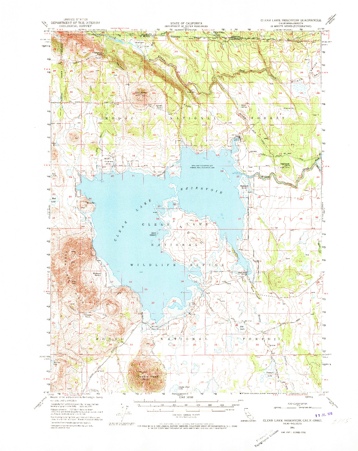 USGS 1:62500-SCALE QUADRANGLE FOR CLEAR LAKE RESERVOIR, CA 1951